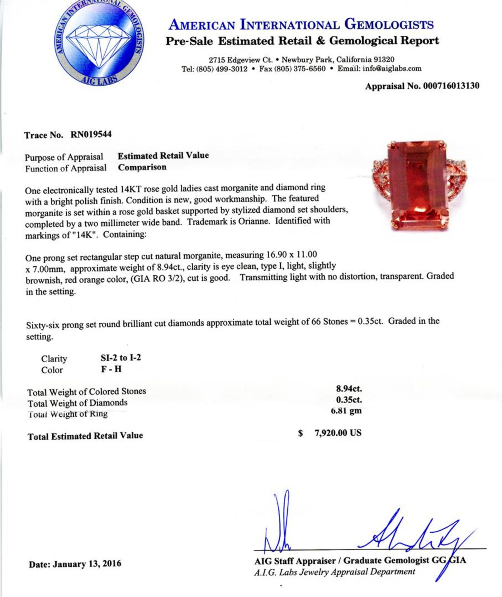 8.94ct Morganite and 0.35ctw Diamond 14K Rose Gold Ring - Image 4 of 4