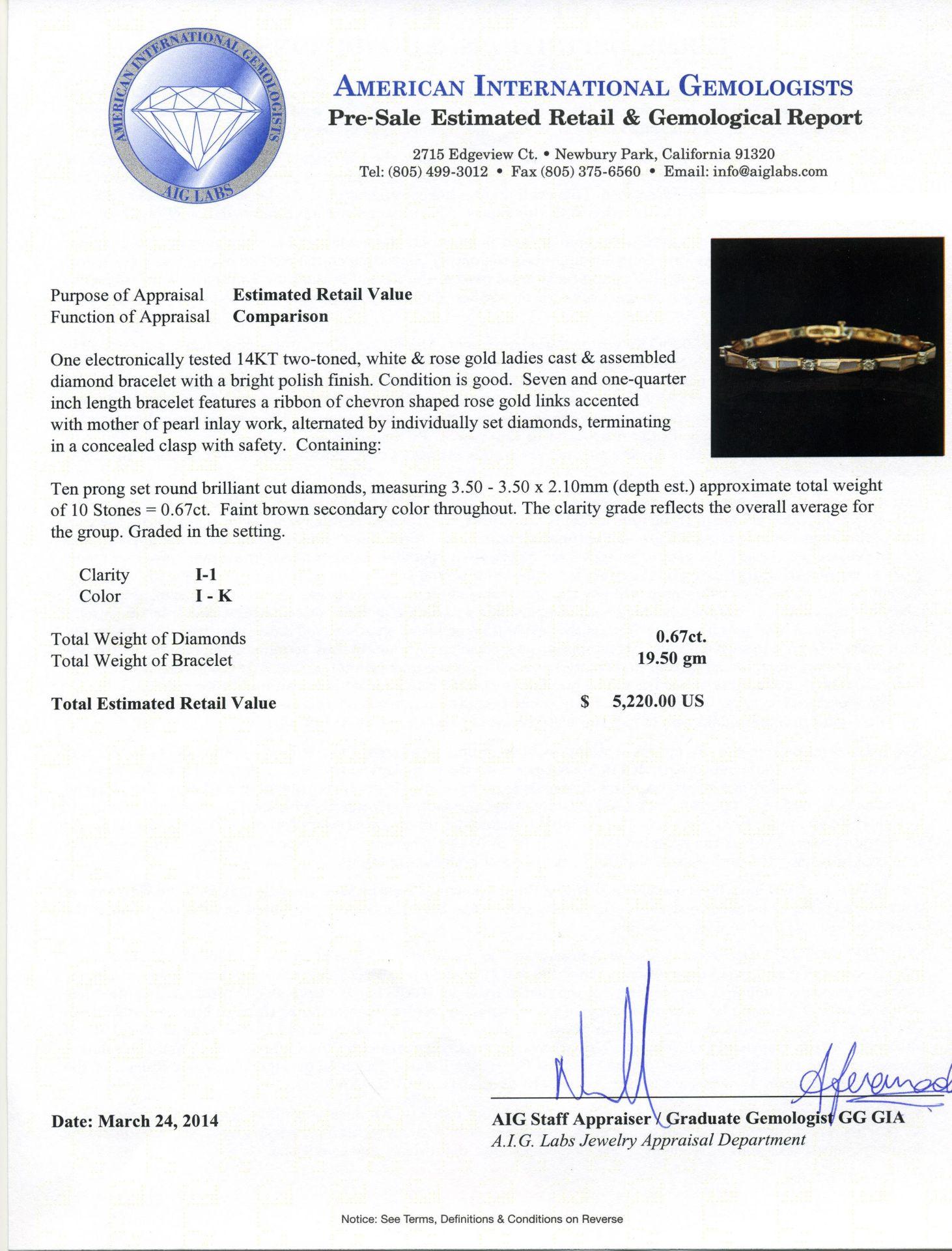 14KT Two-Tone Gold 0.67 ctw Diamond Bracelet - Image 4 of 4