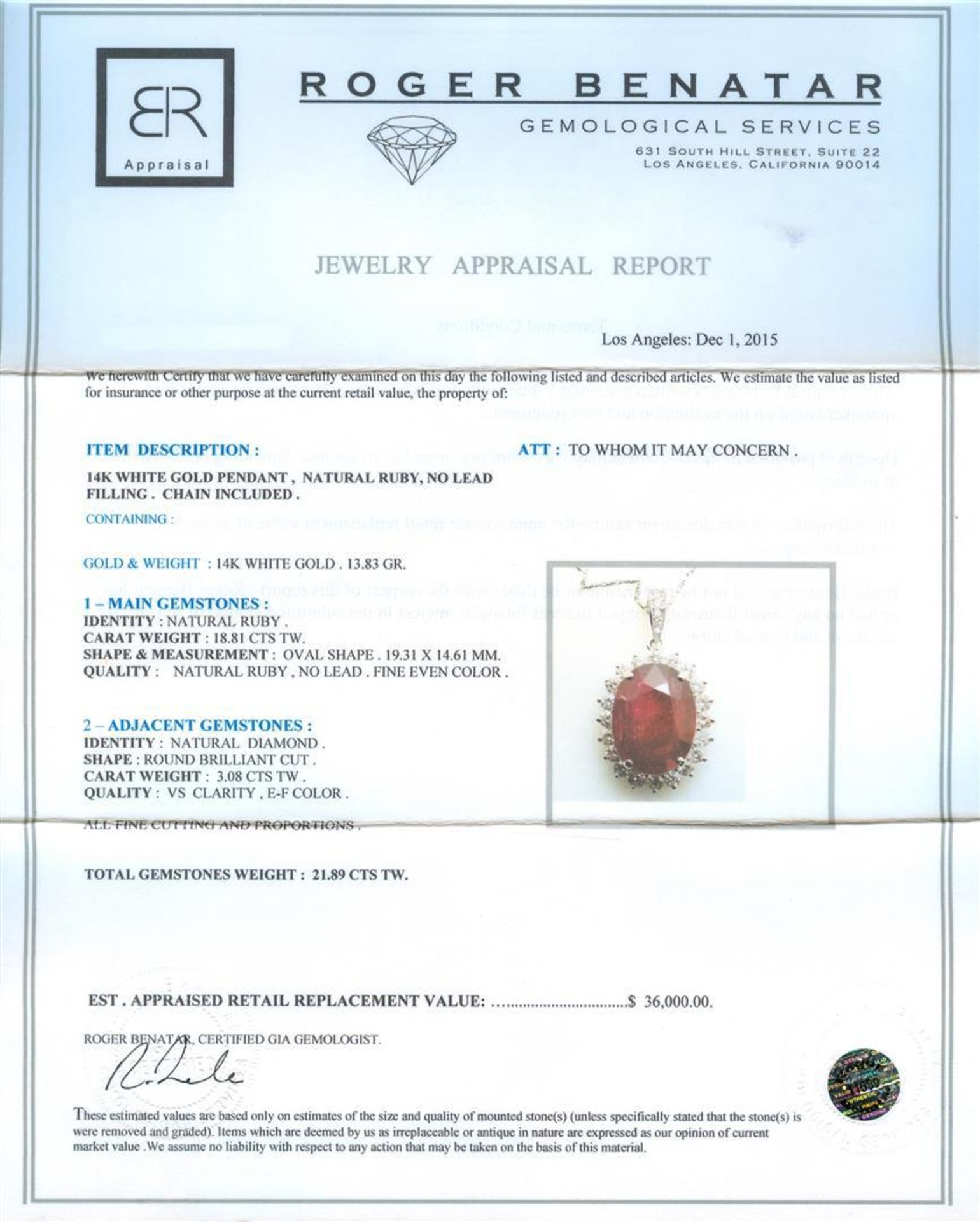 18.81 ctw Ruby and Diamond Pendant With Chain - 14KT White Gold - Image 3 of 3