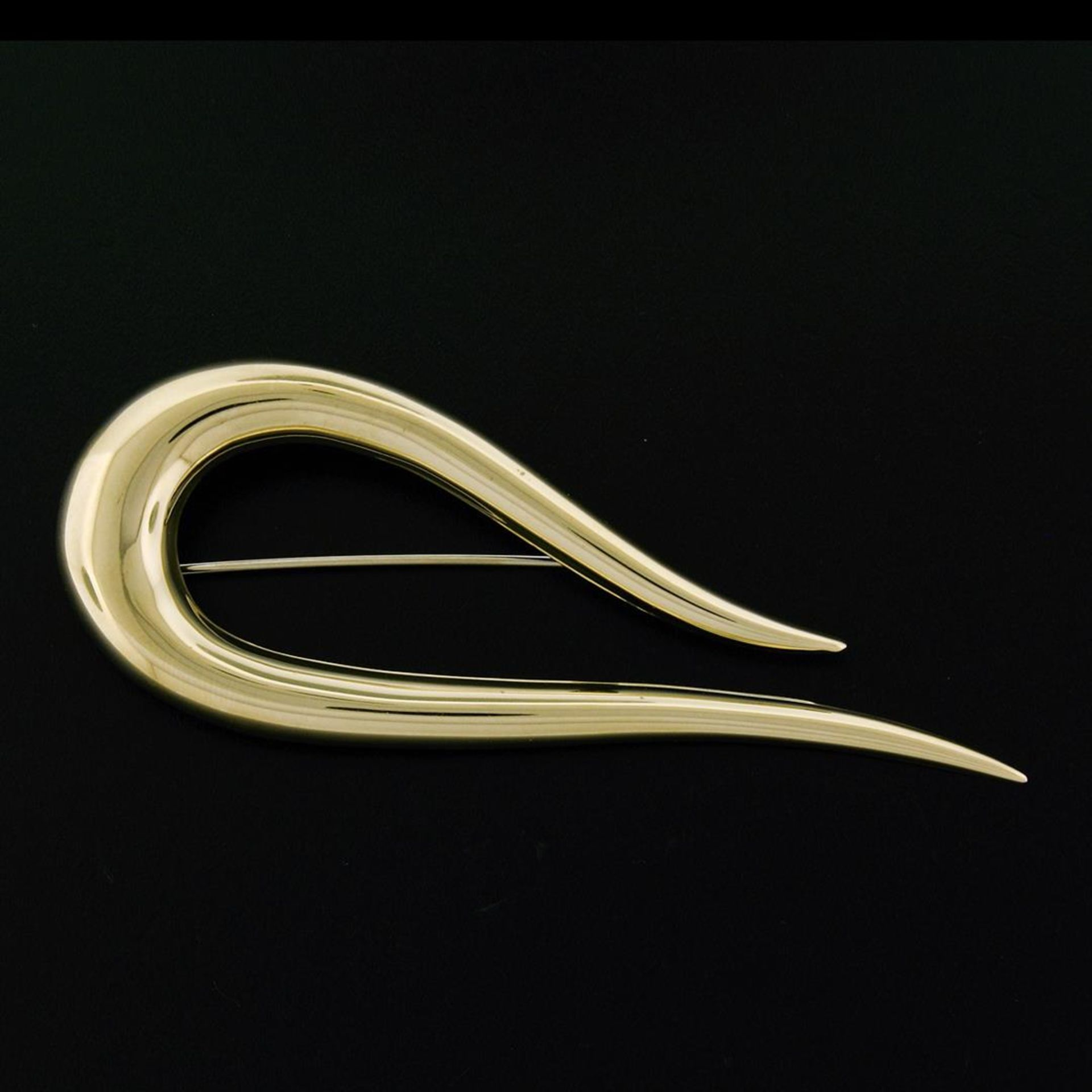 Vintage Bassani Designer Italian 14k Yellow Gold Large Domed Curved Flame Pin Br - Image 2 of 6