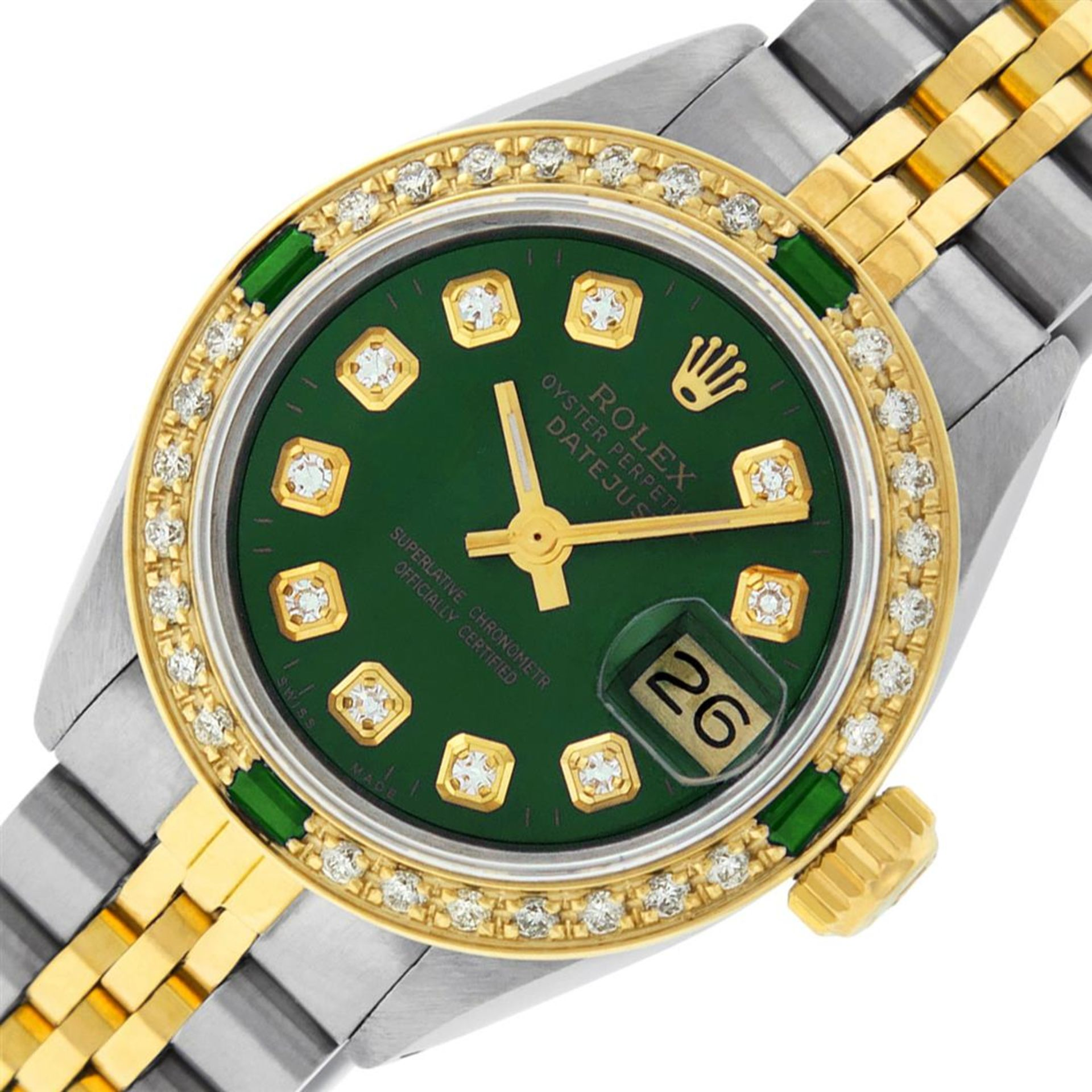 Rolex Ladies 2 Tone Green Diamond & Emerald Datejust Wristwatch - Image 2 of 9