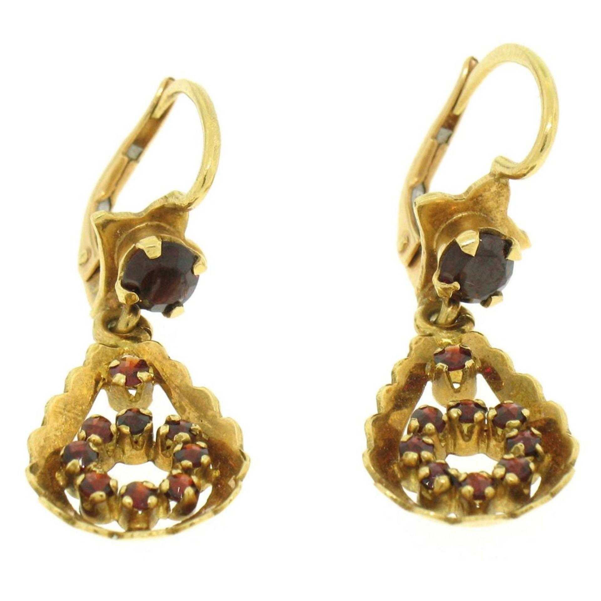 Vintage 18K Yellow Gold 1.0 ctw Pear Shape Garnet Dangle Drop Lever Back Earring - Image 7 of 8