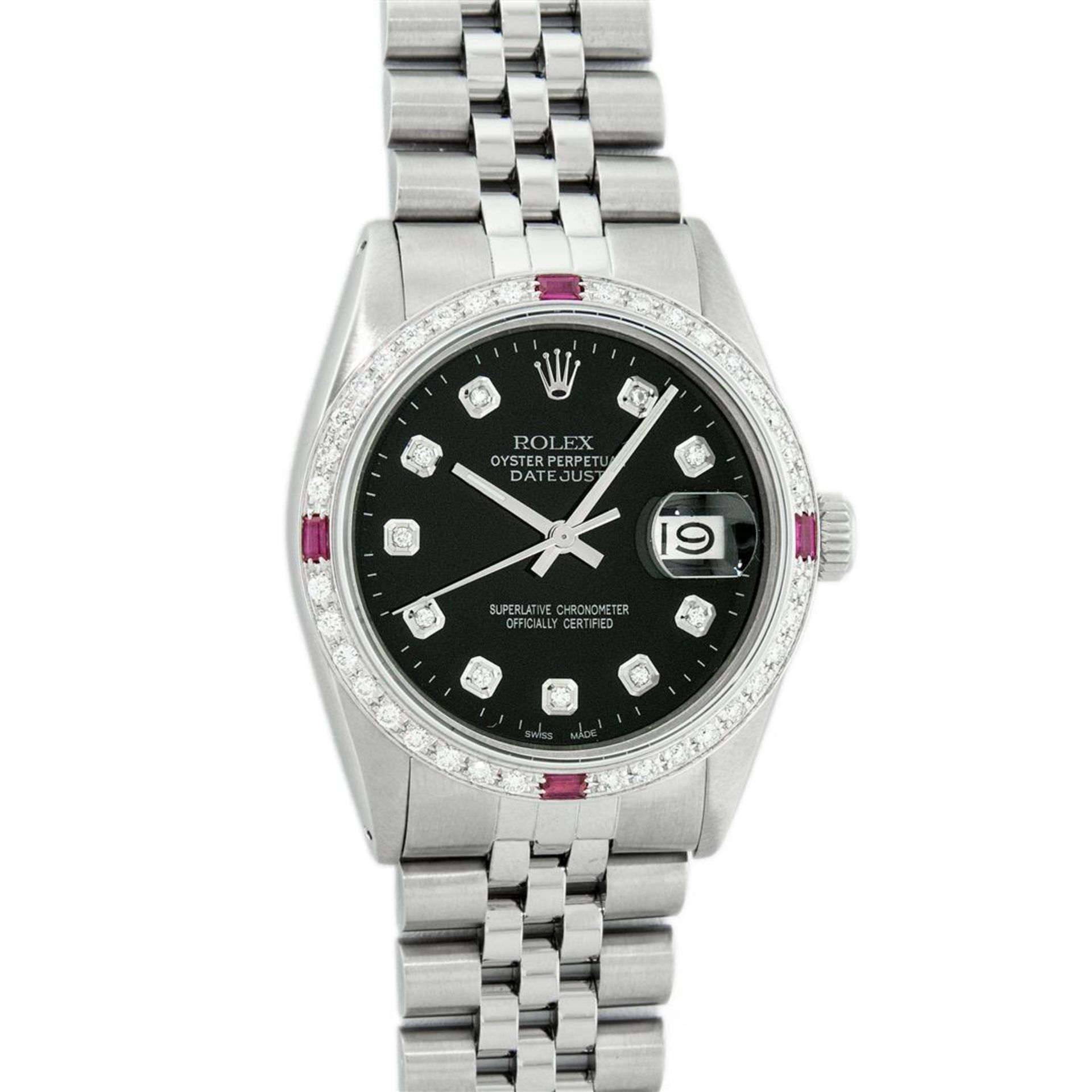 Rolex Mens Stainless Steel Black Diamond & Ruby 36MM Datejust Wristwatch Oyster - Image 2 of 9