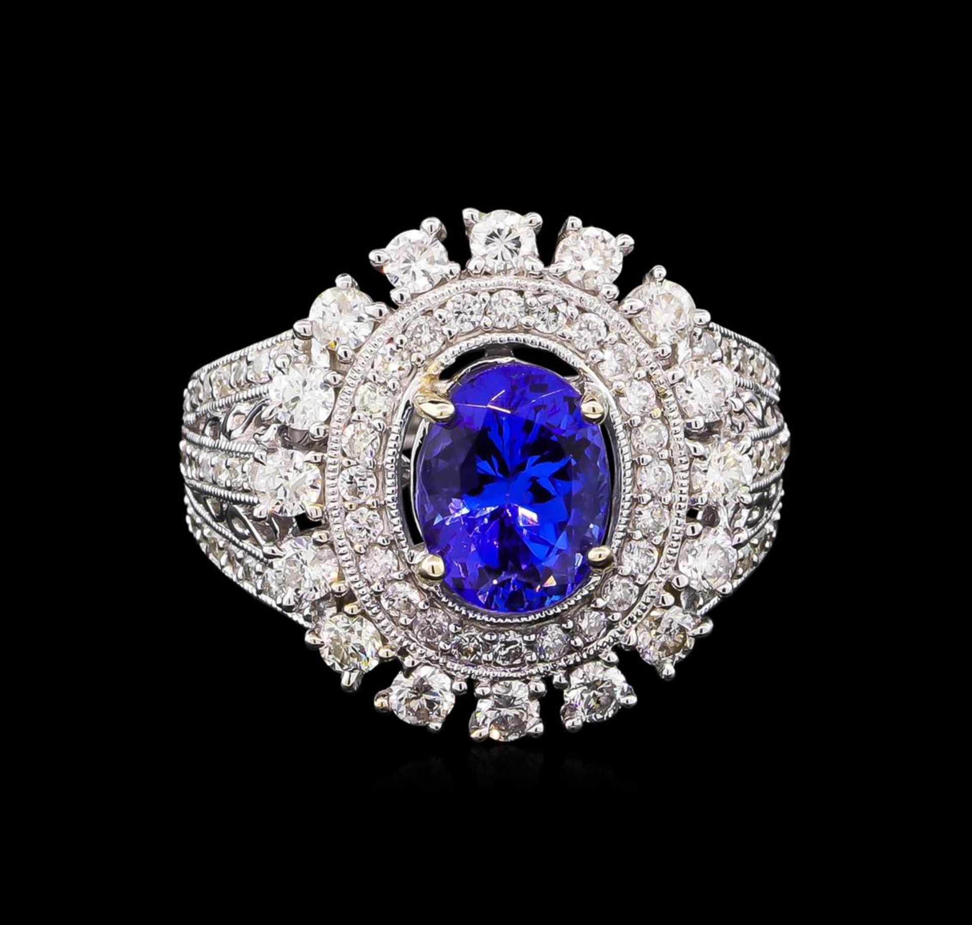 14KT White Gold 2.20 ctw Tanzanite and Diamond Ring - Image 2 of 5