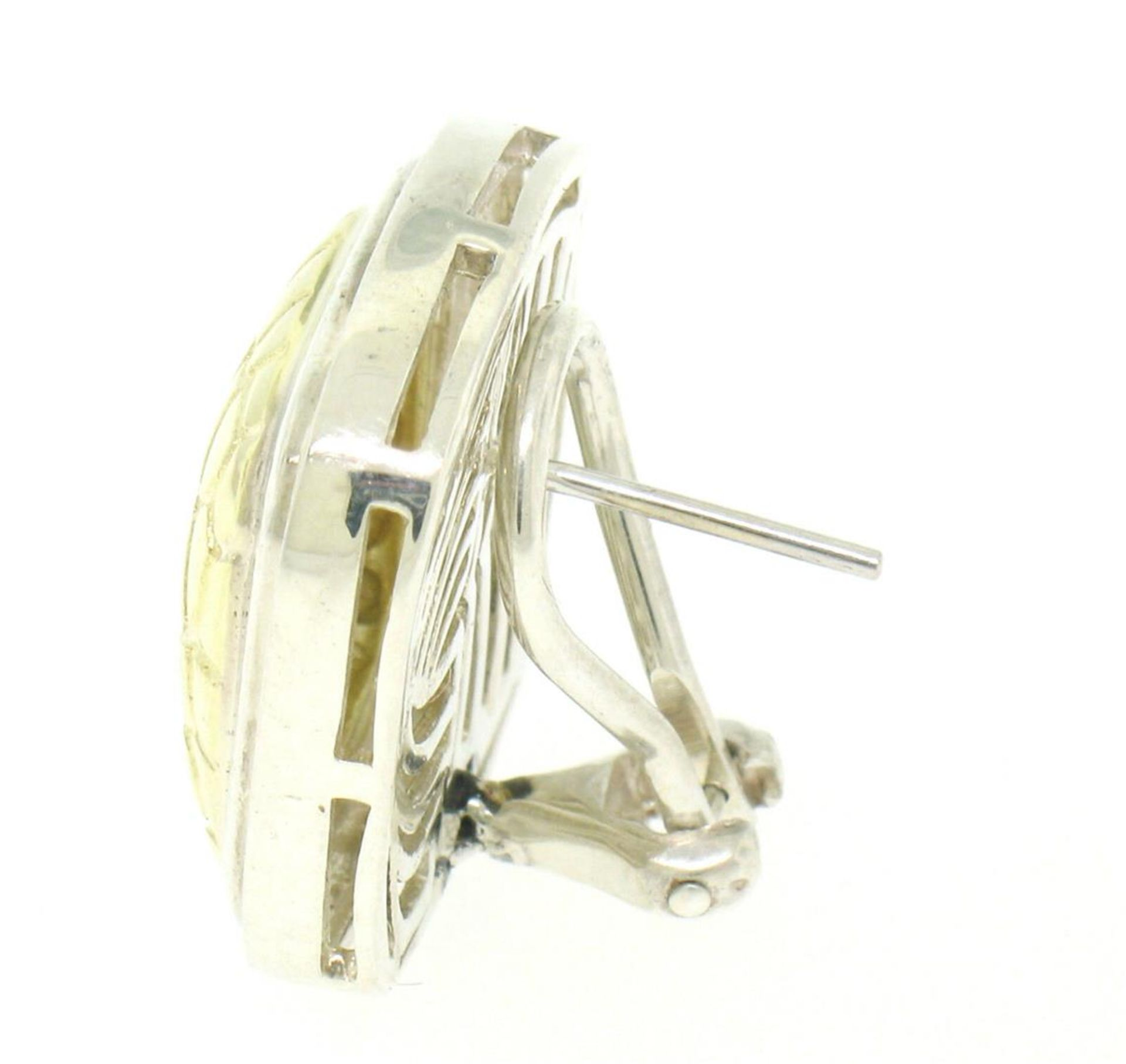Krypell Sterling Silver & 14k Yellow Gold Square Cushion Python Pattern Earrings - Image 4 of 6