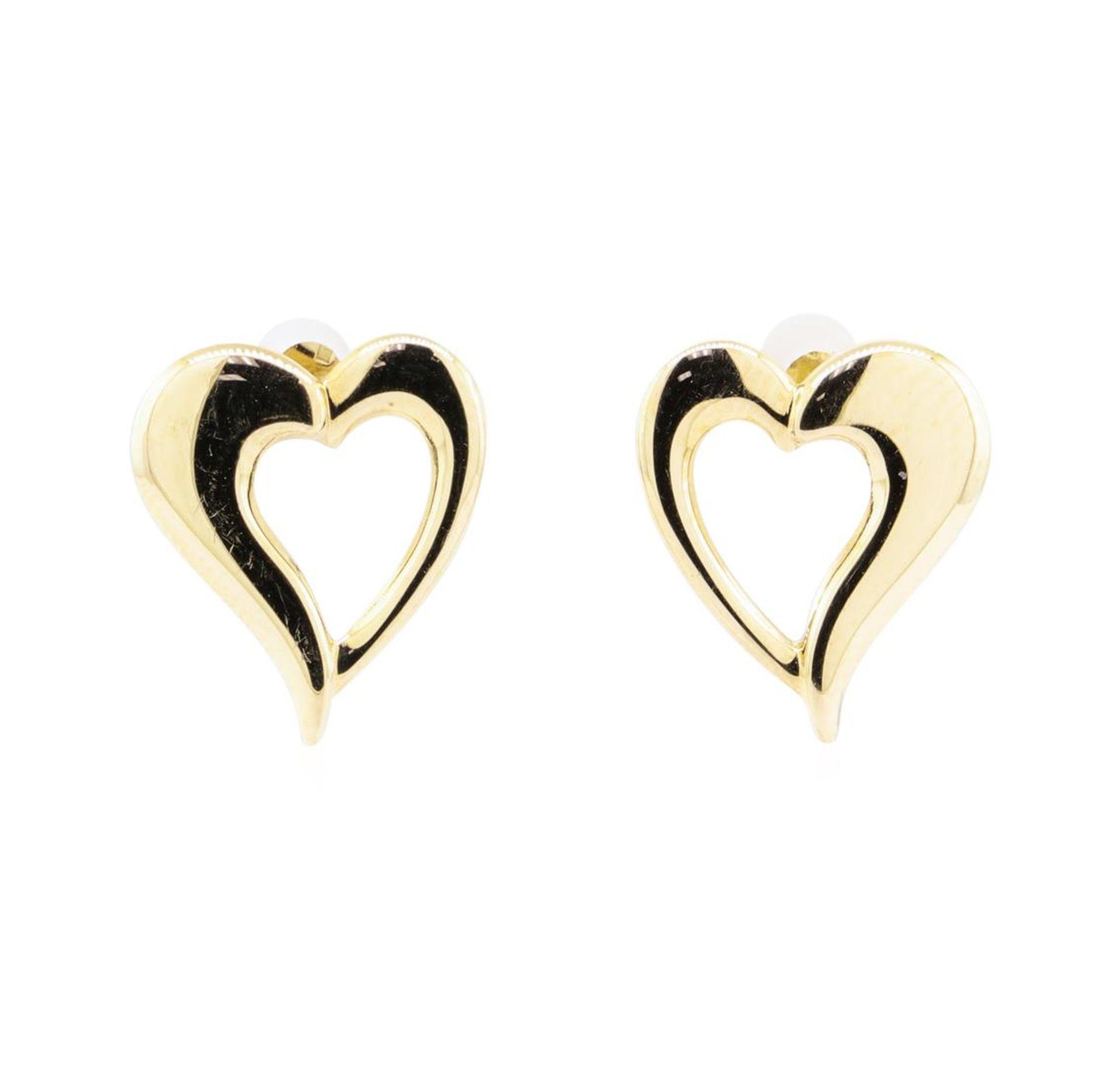 Puffed Heart Earrings - 14KT Yellow Gold