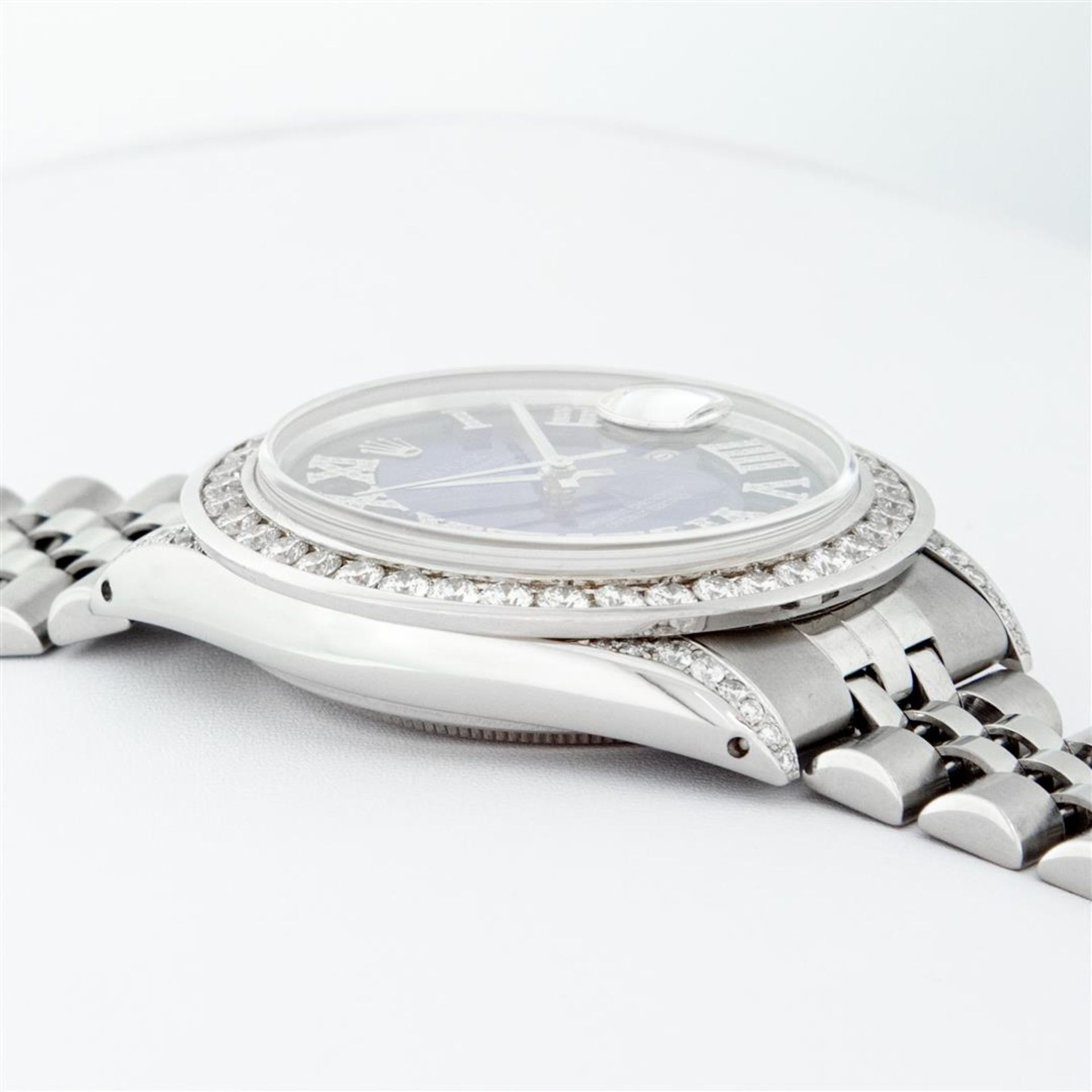 Rolex Mens Stainless Steel Blue Vignette Roman 3ctw Diamond Datejust Wristwatch - Image 4 of 9