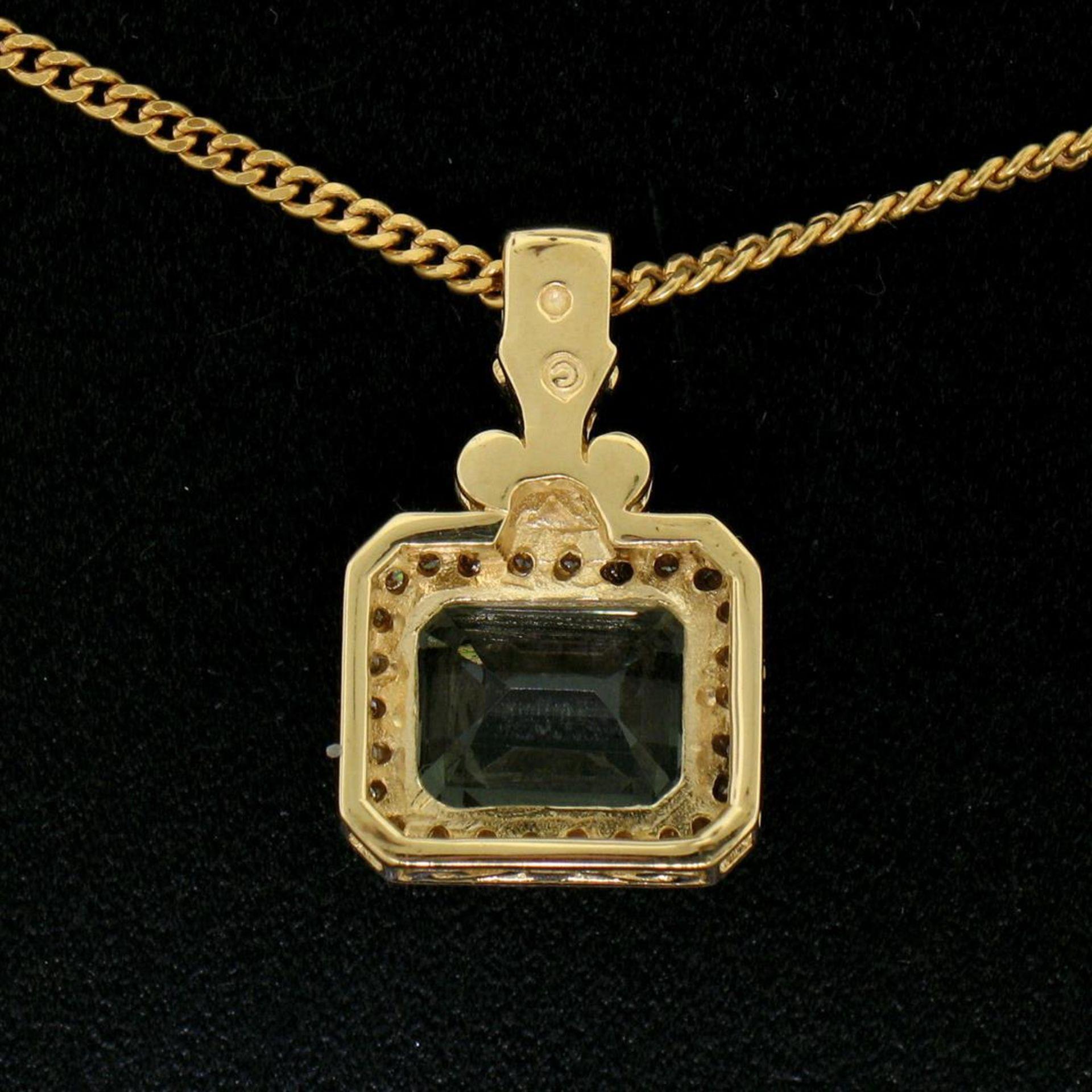 "14K Yellow Gold 3.77ctw VS Diamond Green Amethyst Pendant w/ 20"" Curb Chain - Image 6 of 7"