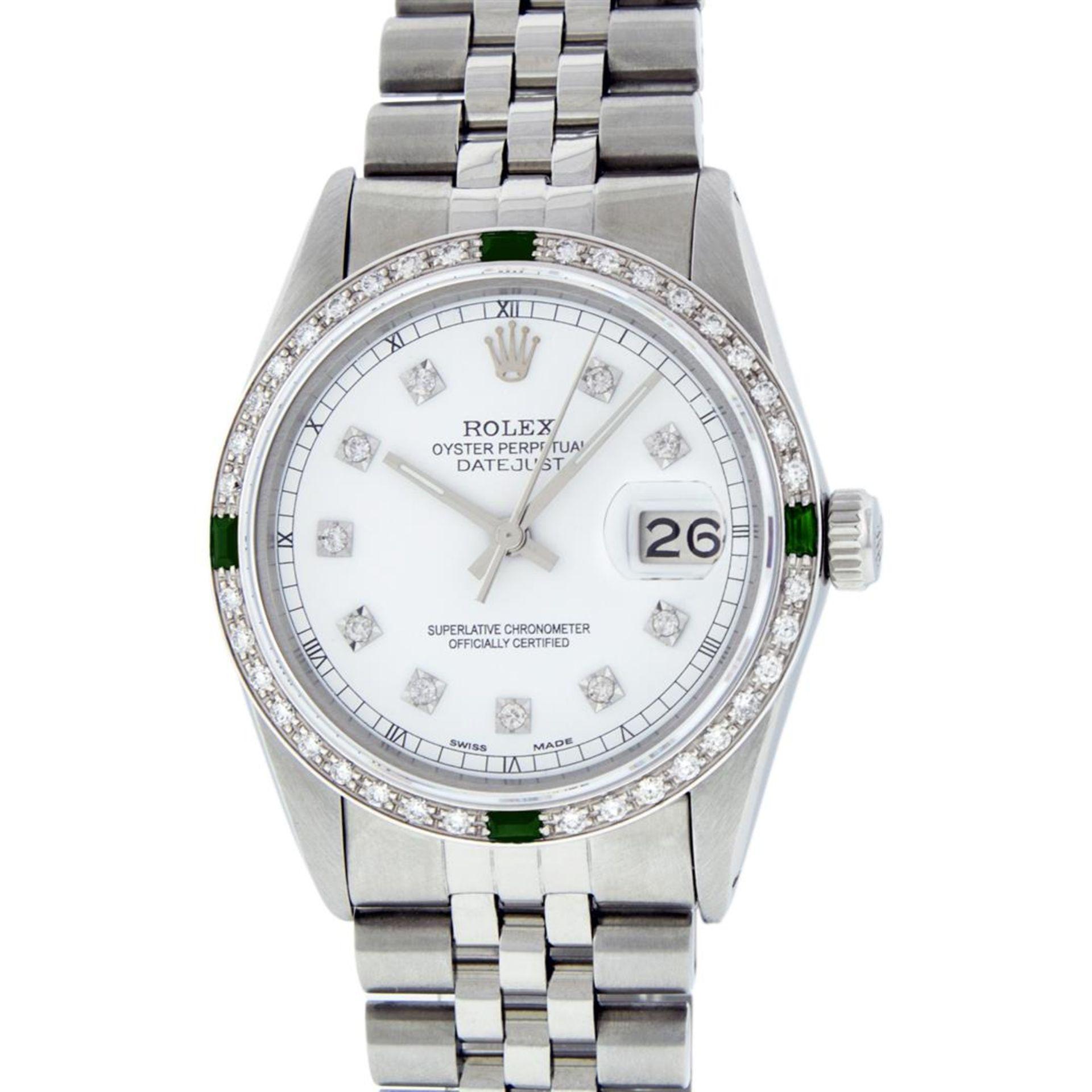 Rolex Mens Stainless Steel White Diamond & Emerald 36MM Datejust Wristwatch - Image 2 of 9
