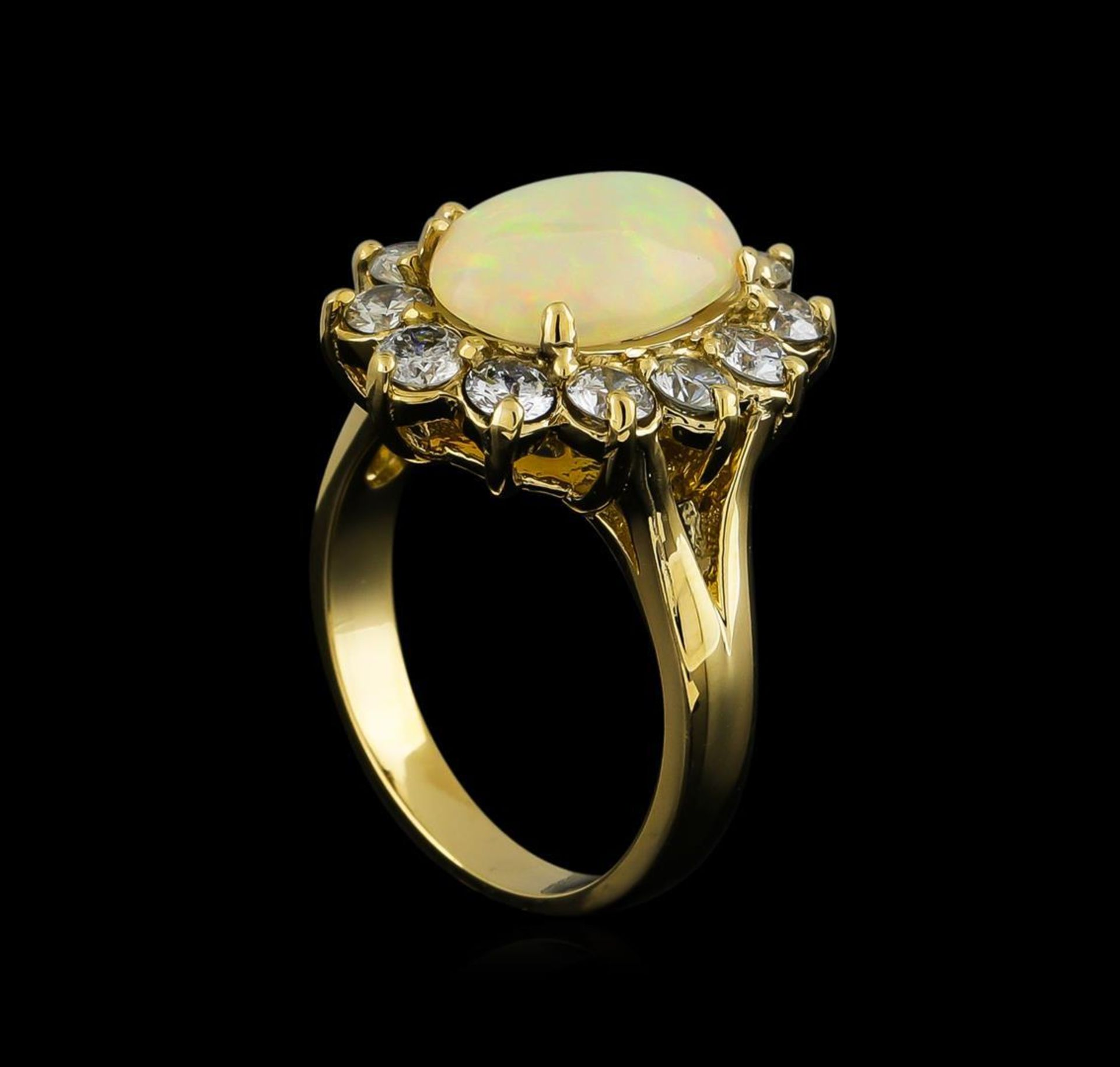 2.56 ctw Opal and Diamond Ring - 14KT Yellow Gold - Image 4 of 5