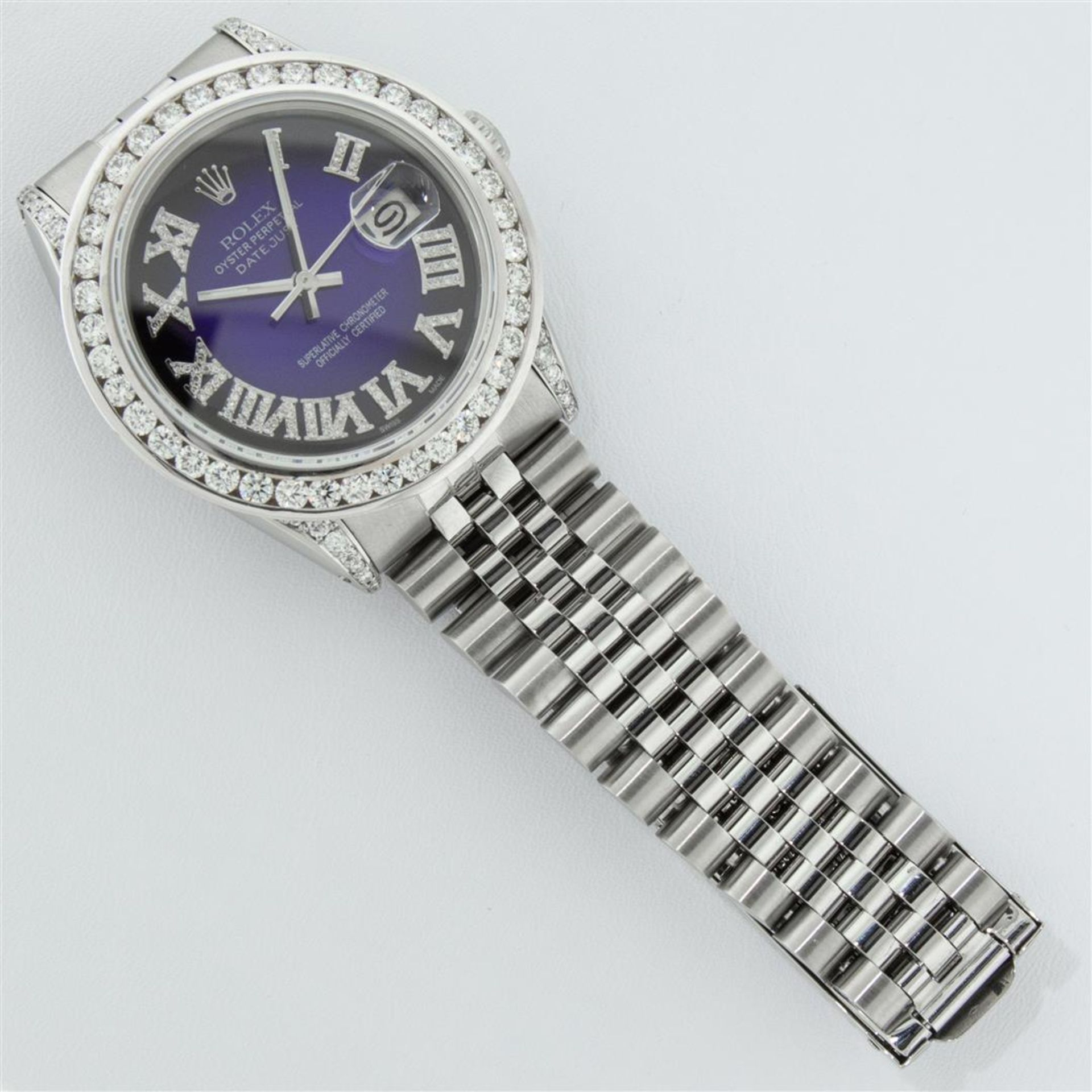 Rolex Mens Stainless Steel Blue Vignette Roman 3ctw Diamond Datejust Wristwatch - Image 8 of 9