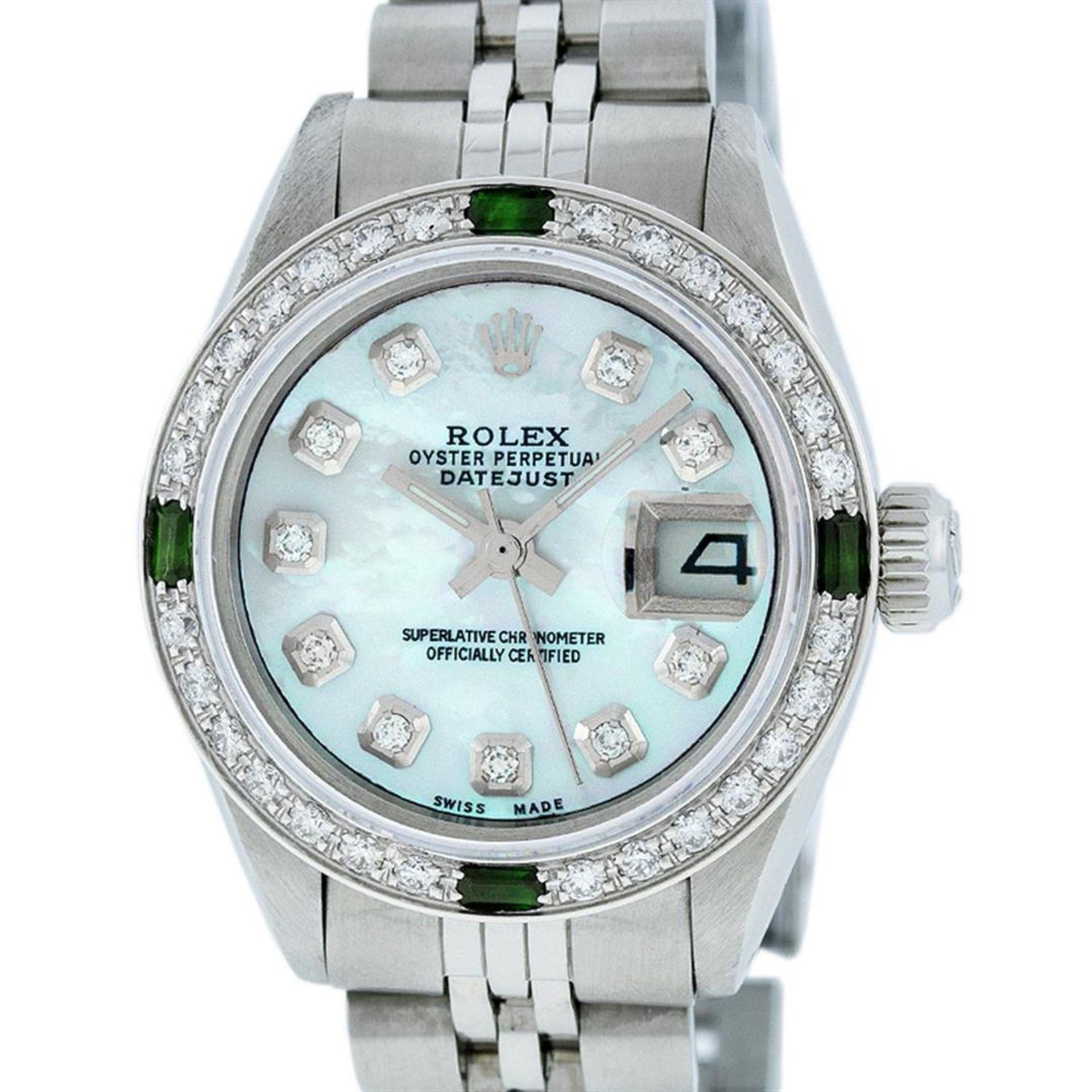 Rolex Ladies Stainless Steel Blue MOP Diamond & Emerald Datejust Wristwatch - Image 2 of 9