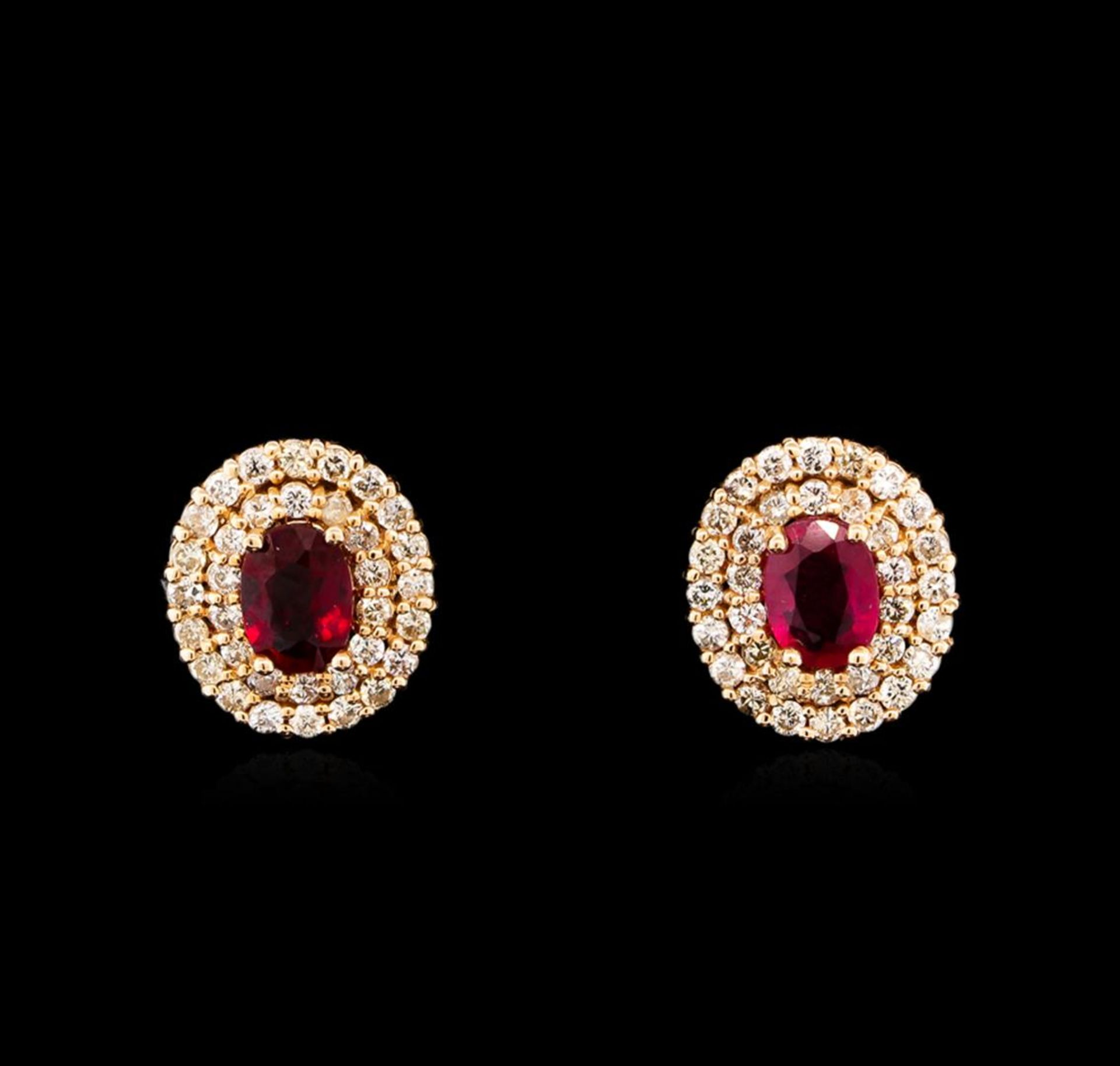 14KT Rose Gold 2.07ctw Ruby and Diamond Earrings