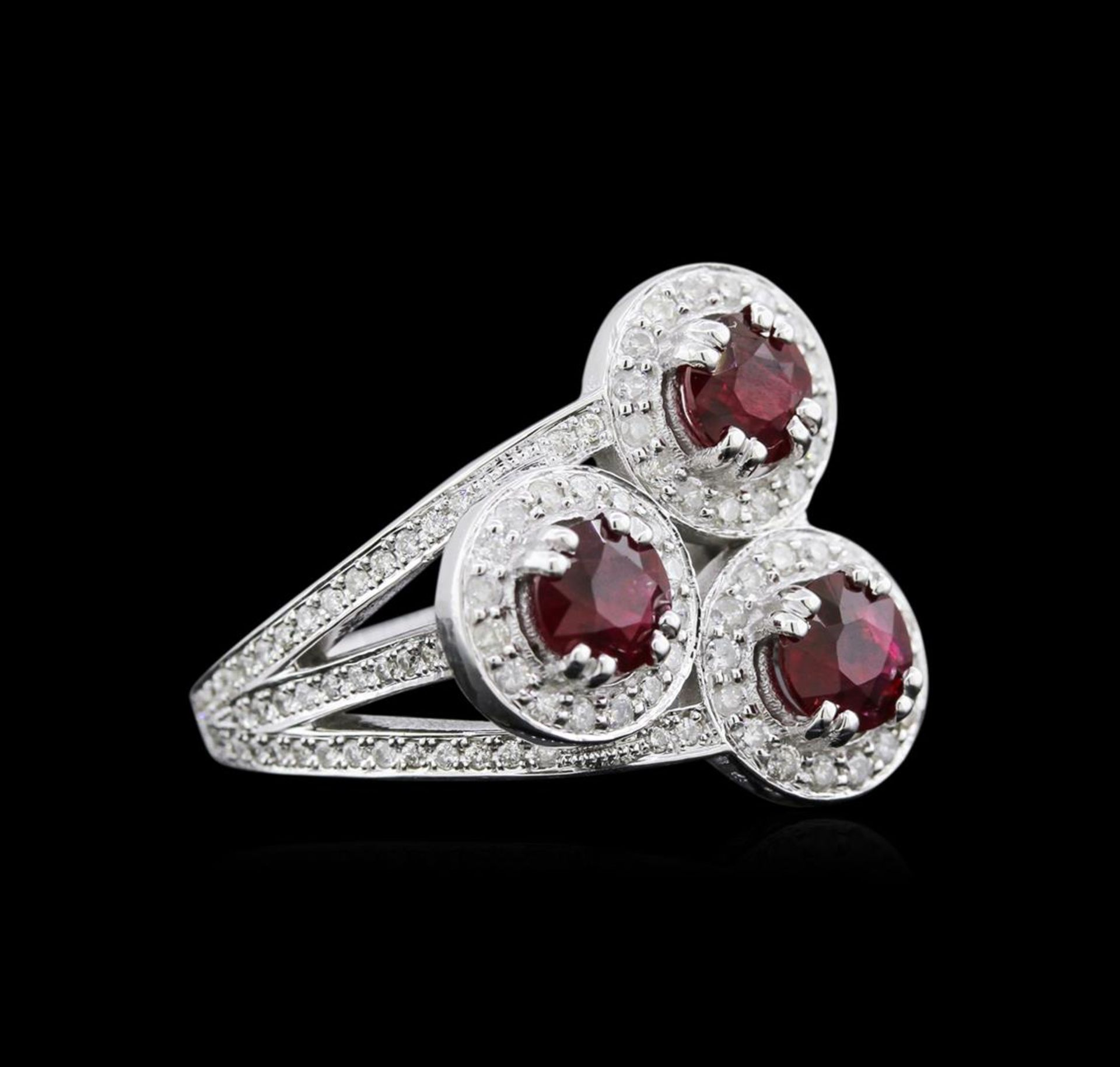 2.64ctw Ruby and Diamond Ring - 14KT White Gold