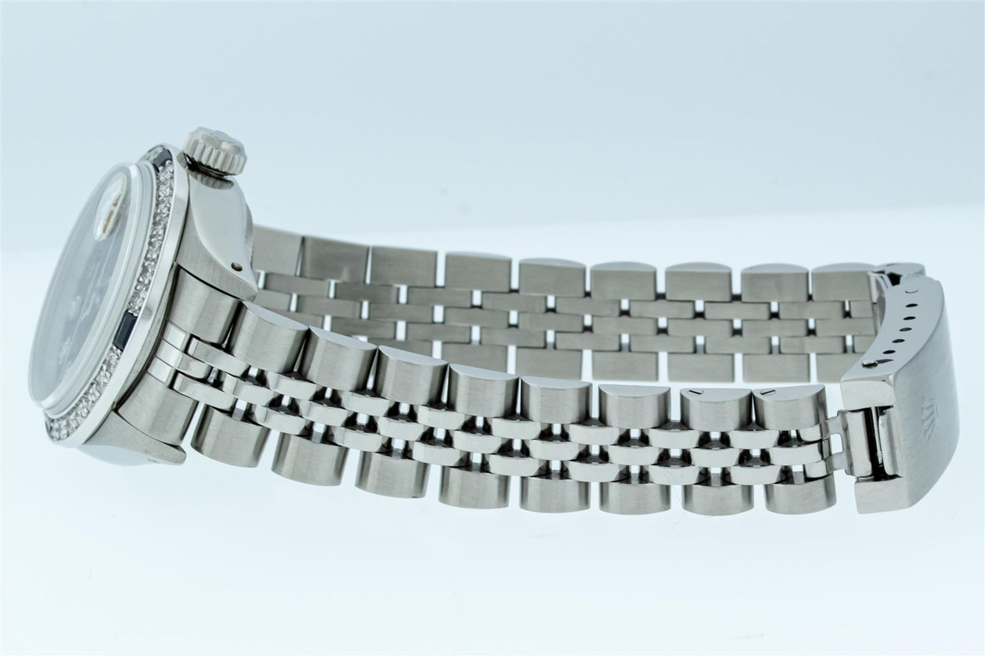 Rolex Ladies Stainless Steel Blue VVS Diamond & Sapphire Datejust Wristwatch - Image 5 of 9