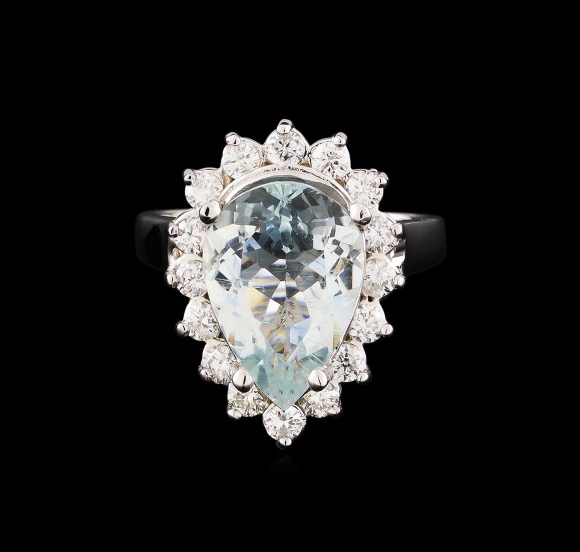 4.48 ctw Aquamarine and Diamond Ring - 14KT White Gold - Image 2 of 5