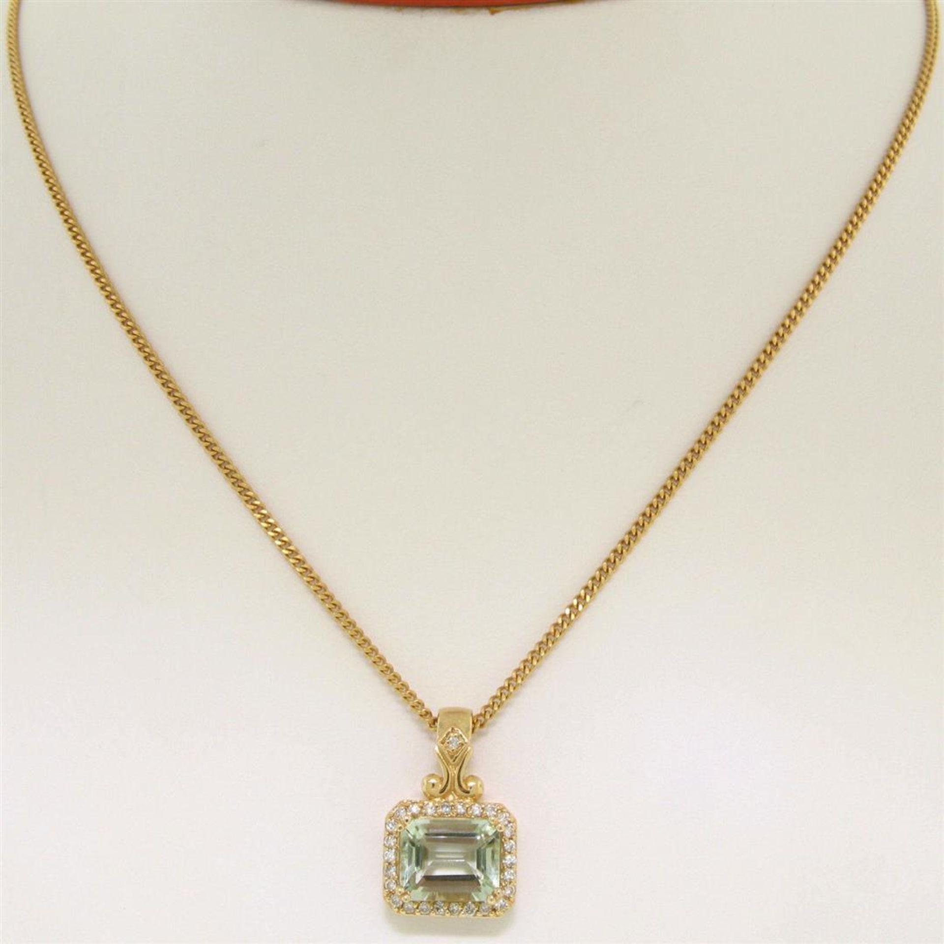 "14K Yellow Gold 3.77ctw VS Diamond Green Amethyst Pendant w/ 20"" Curb Chain - Image 5 of 7"