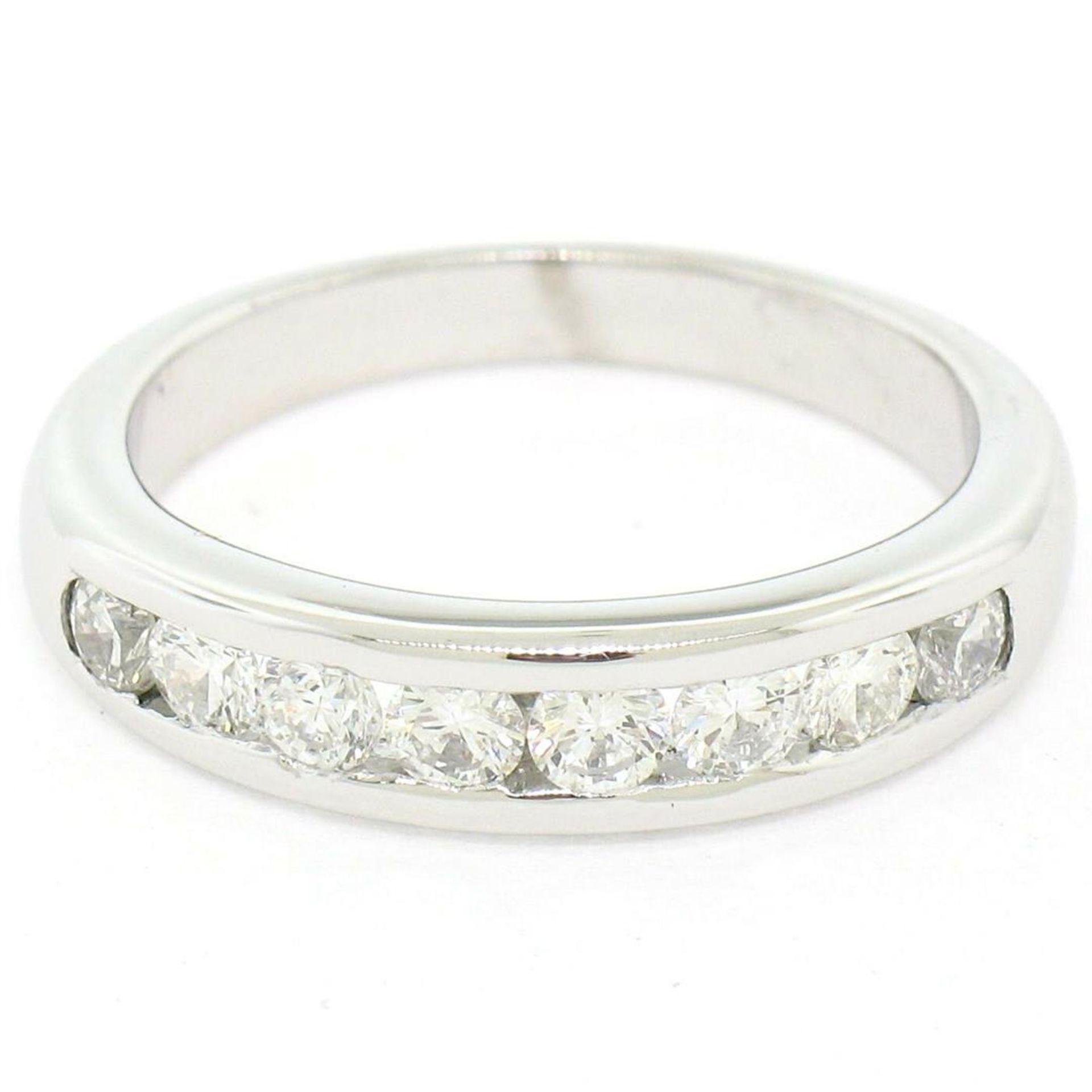 Classic Platinum .80ctw Channel Set Round Brilliant VS Diamond Wedding Band Ring - Image 2 of 8