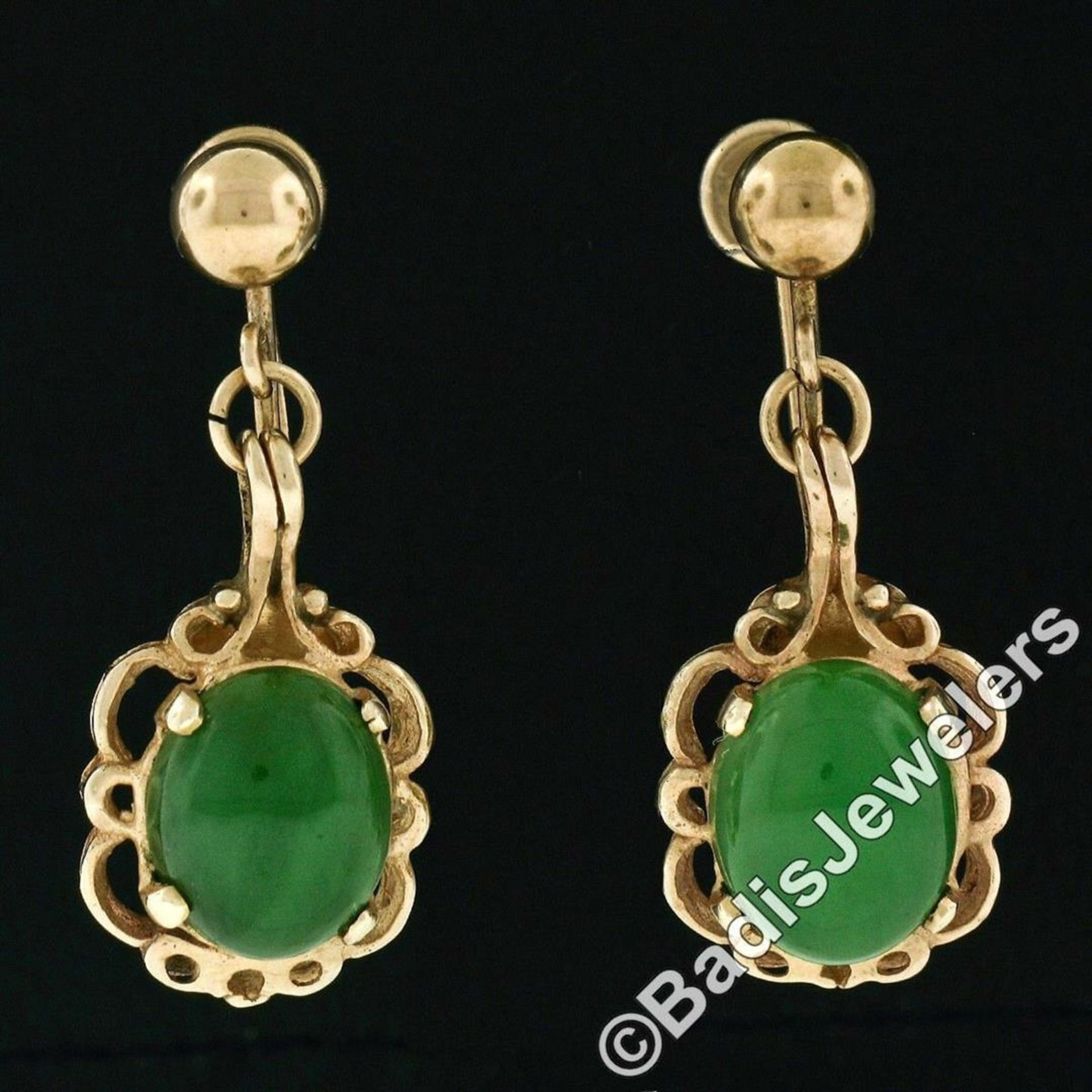 Vintage 14kt Yellow Gold Oval Green Jade Non Pierced Earrings - Image 2 of 6