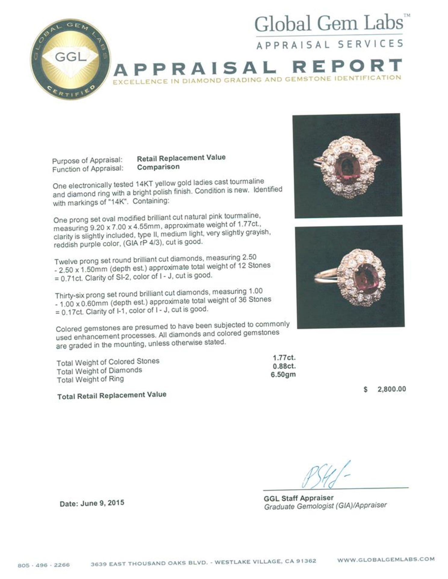 14KT Yellow Gold 1.77 ctw Tourmaline and Diamond Ring - Image 3 of 3