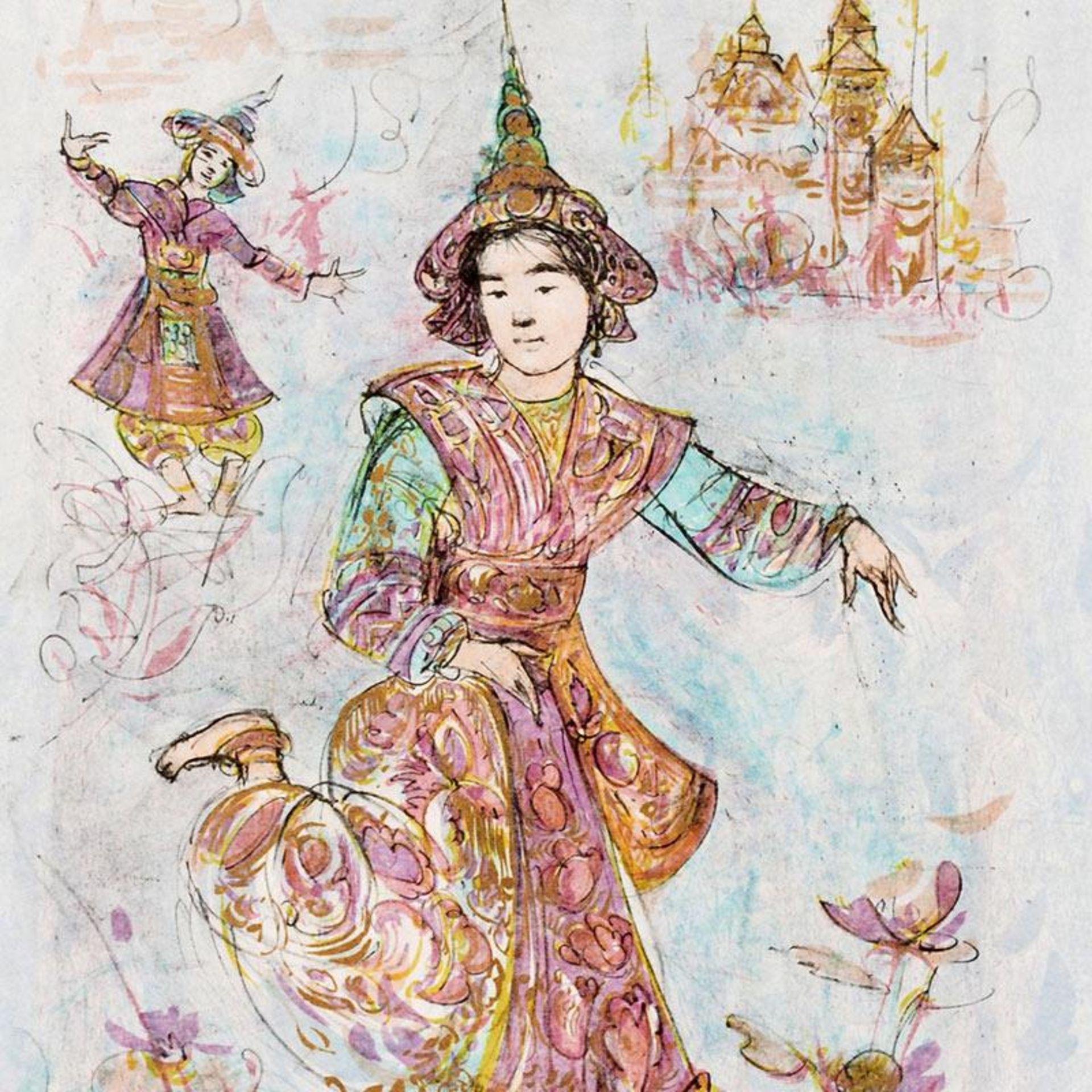 Thai Dancers by Hibel (1917-2014) - Image 2 of 2