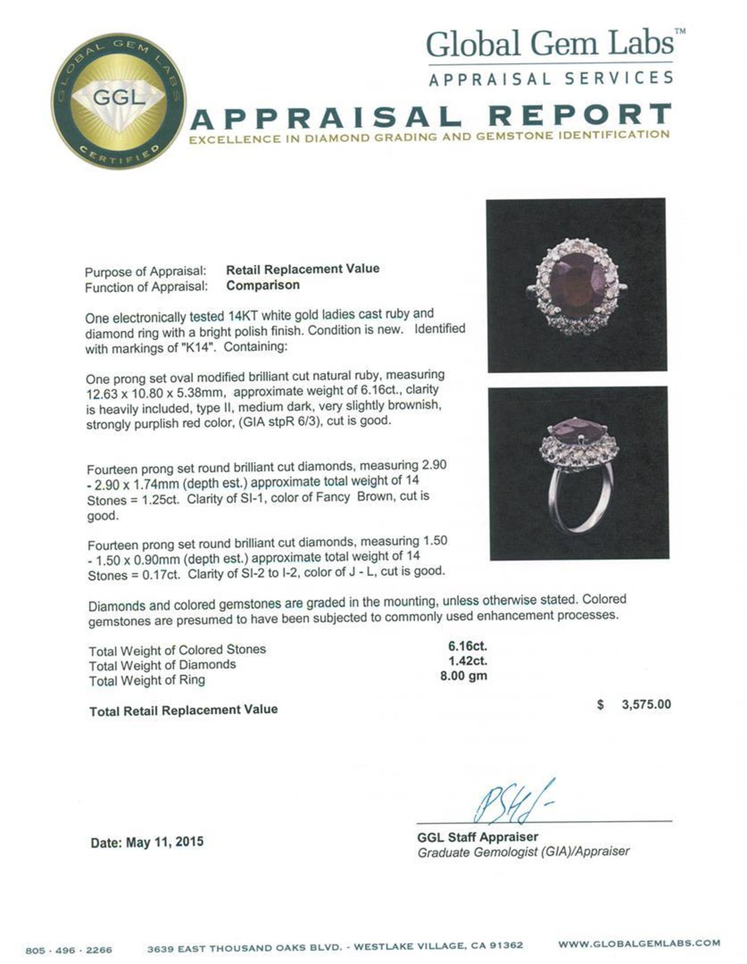 14KT White Gold 6.16 ctw Ruby and Diamond Ring - Image 4 of 4