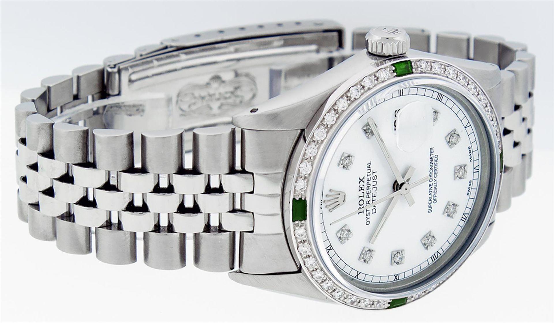 Rolex Mens Stainless Steel White Diamond & Emerald 36MM Datejust Wristwatch - Image 3 of 9
