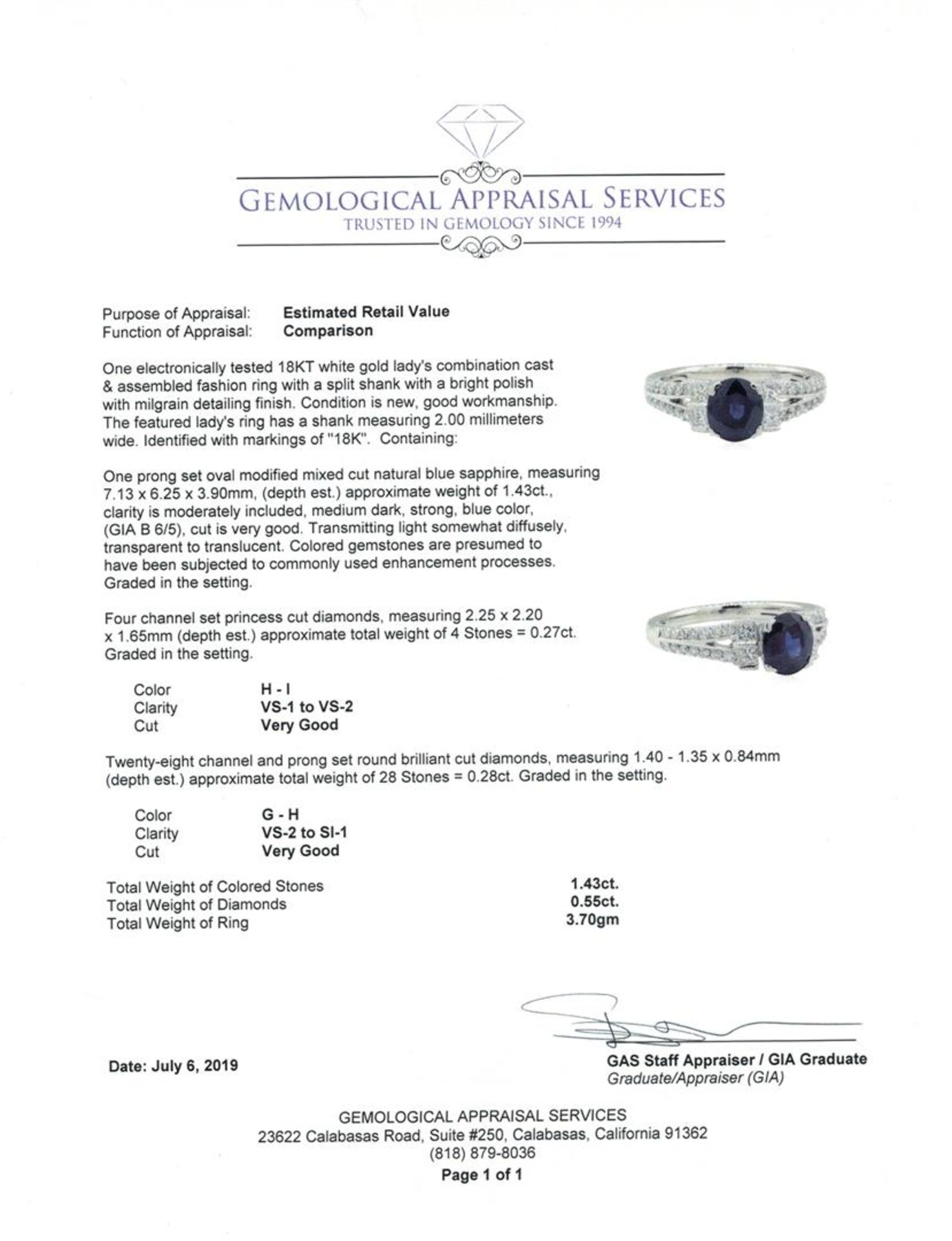 1.98 ctw Sapphire and Diamond Ring - 18KT White Gold - Image 5 of 5