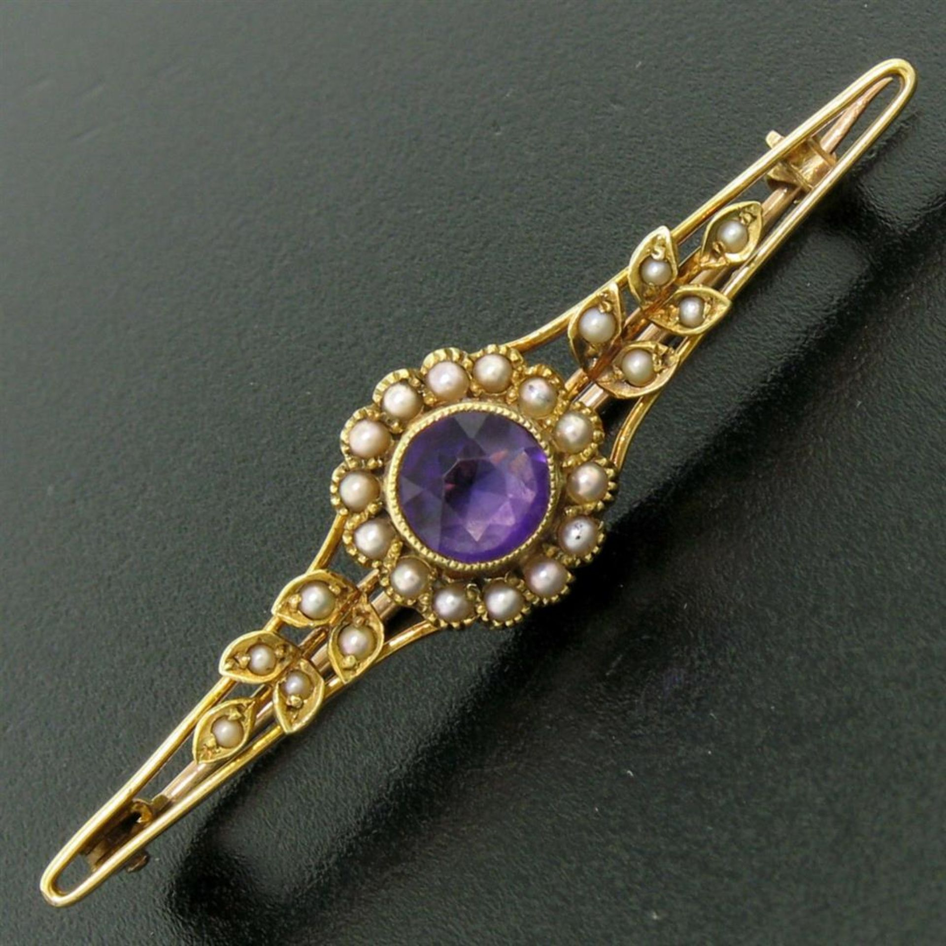 15k Yellow Gold .64 ct Old Cut Amethyst & Seed Pearl Brooch Pin - Image 2 of 8