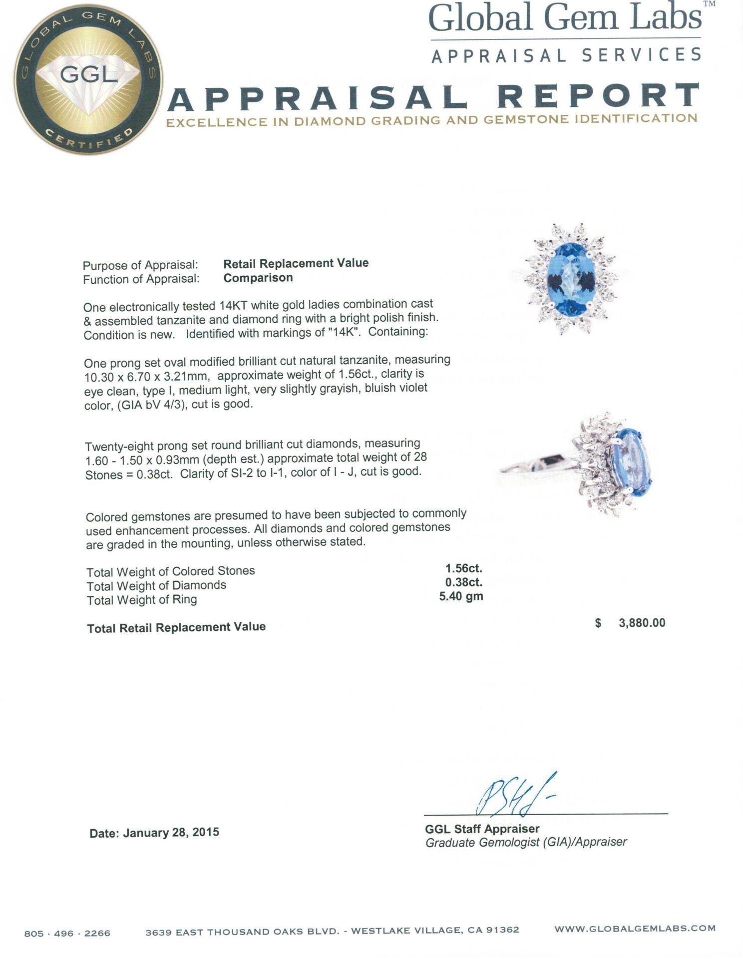 14KT White Gold 1.56 ctw Tanzanite and Diamond Ring - Image 5 of 5