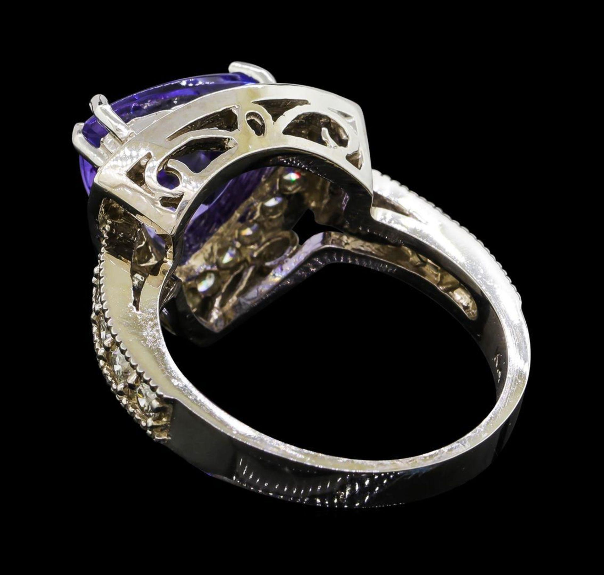 3.72 ctw Tanzanite and Diamond Ring - 14KT White Gold - Image 3 of 5