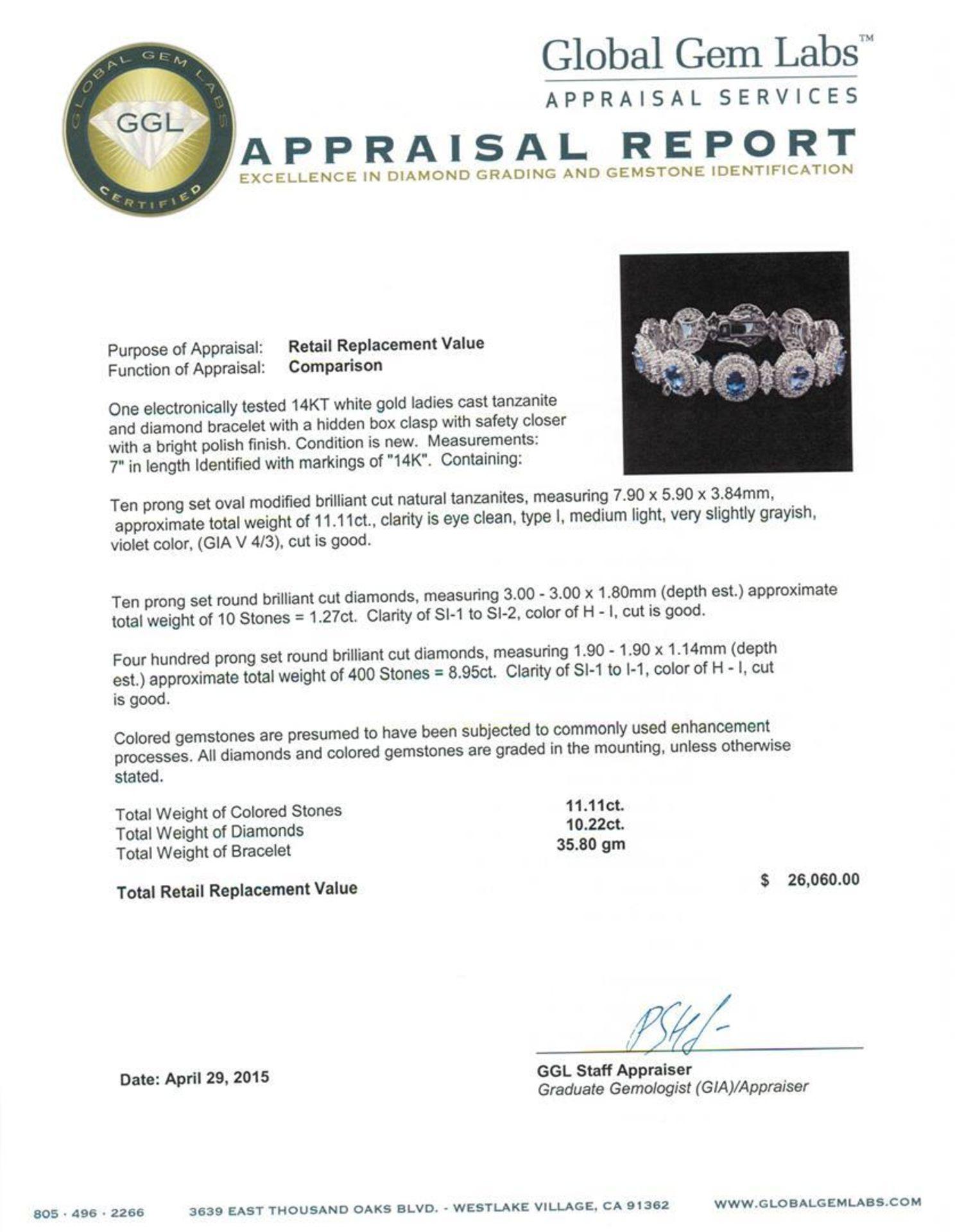 14KT White Gold 11.11ctw Tanzanite and Diamond Bracelet - Image 4 of 4