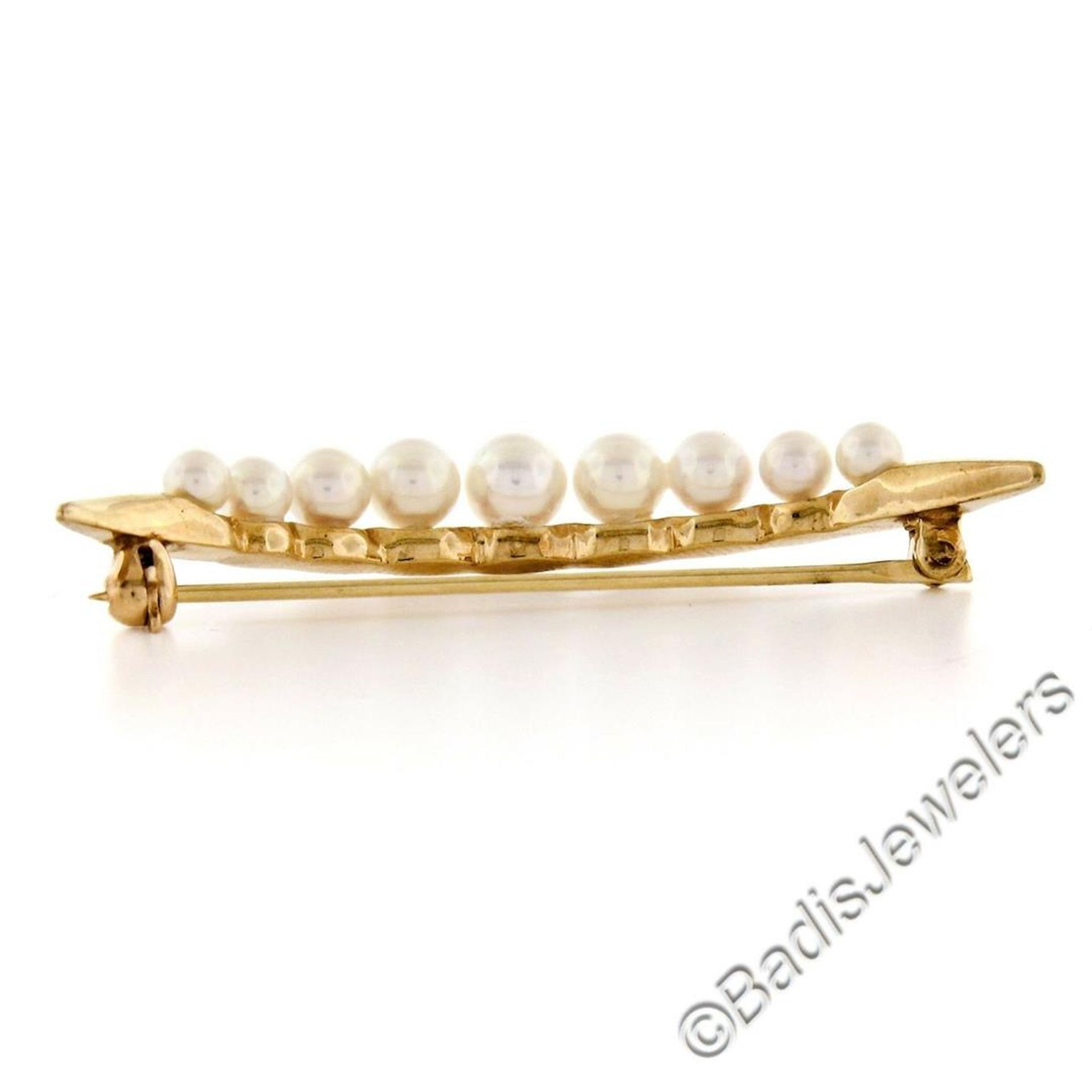14kt Yellow Gold Graduated Round Cultured Pearl Polished Crescent Brooch - Image 4 of 6