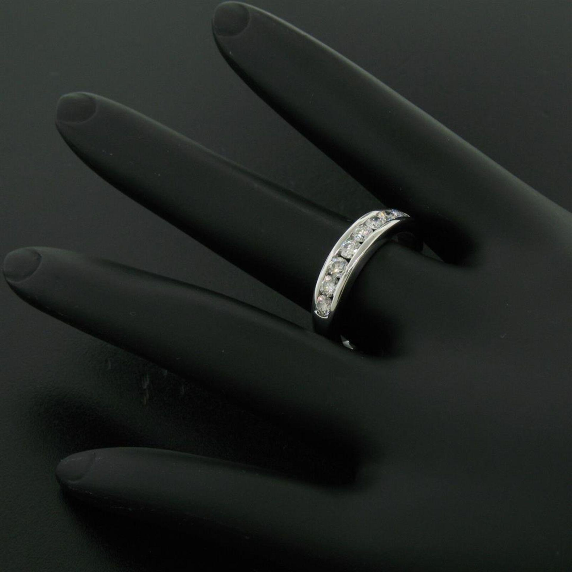 Classic Platinum .80ctw Channel Set Round Brilliant VS Diamond Wedding Band Ring - Image 8 of 8
