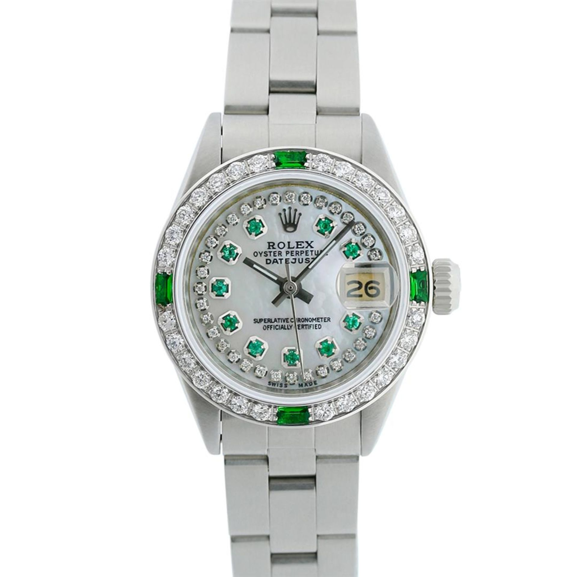 Rolex Ladies Stainless Steel MOP Emerald & Diamond Oyster Perpetaul Datejust Wri - Image 2 of 9