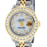Rolex Ladies 2T MOP 2ctw Diamond Datejust Wristwatch With Wooden Watch Winder
