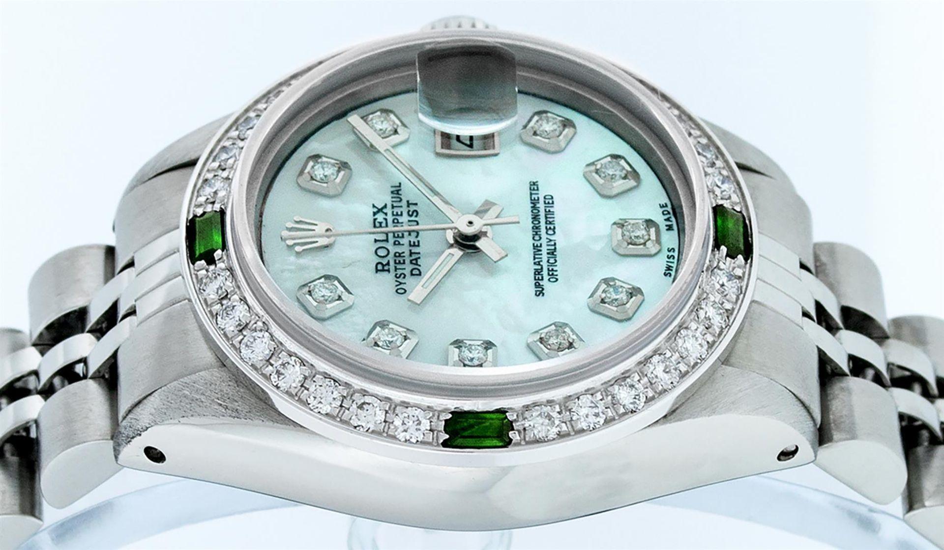 Rolex Ladies Stainless Steel Blue MOP Diamond & Emerald Datejust Wristwatch - Image 3 of 9