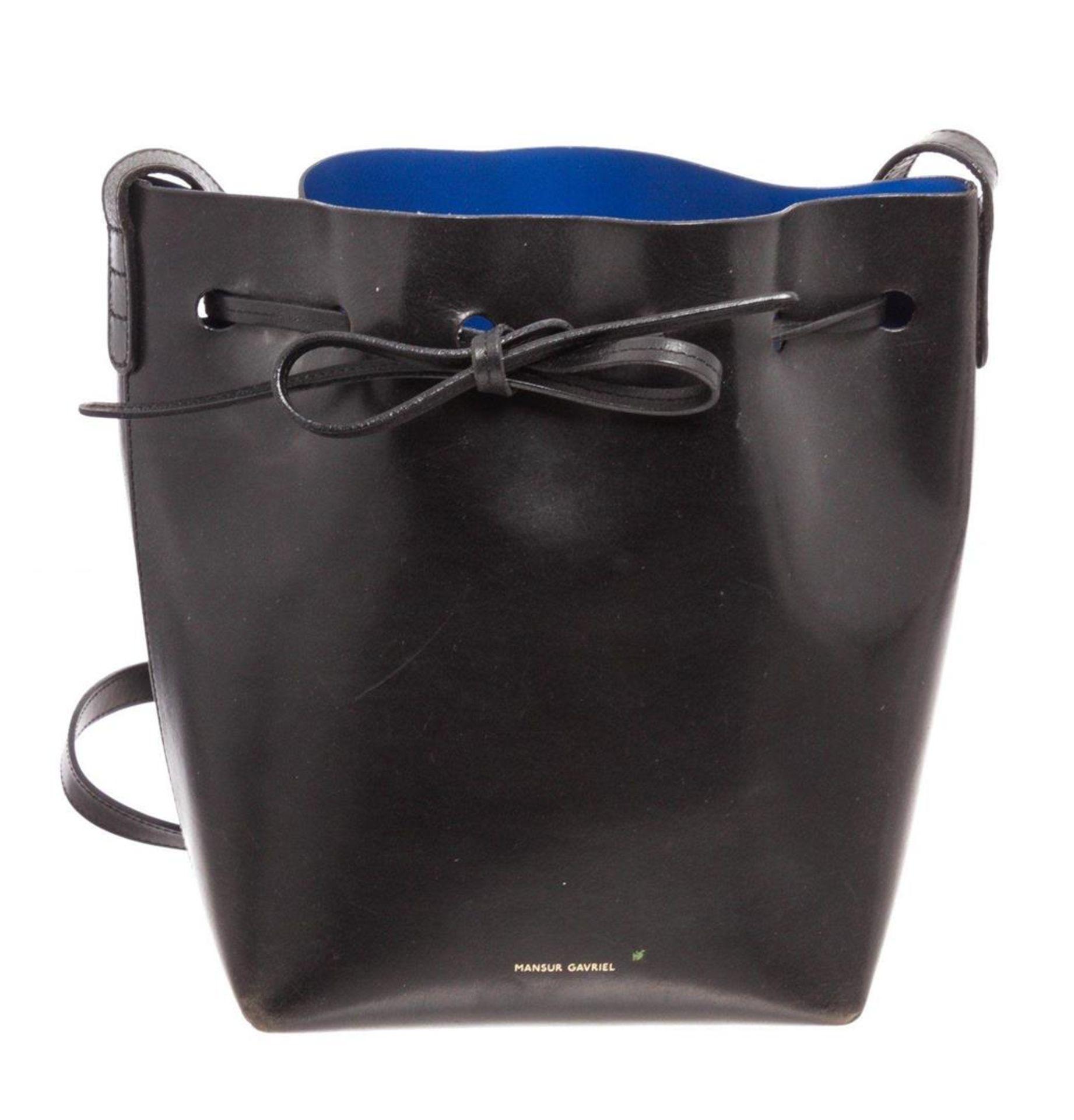 Mansur Black Leather Gavrial Bucket Bag