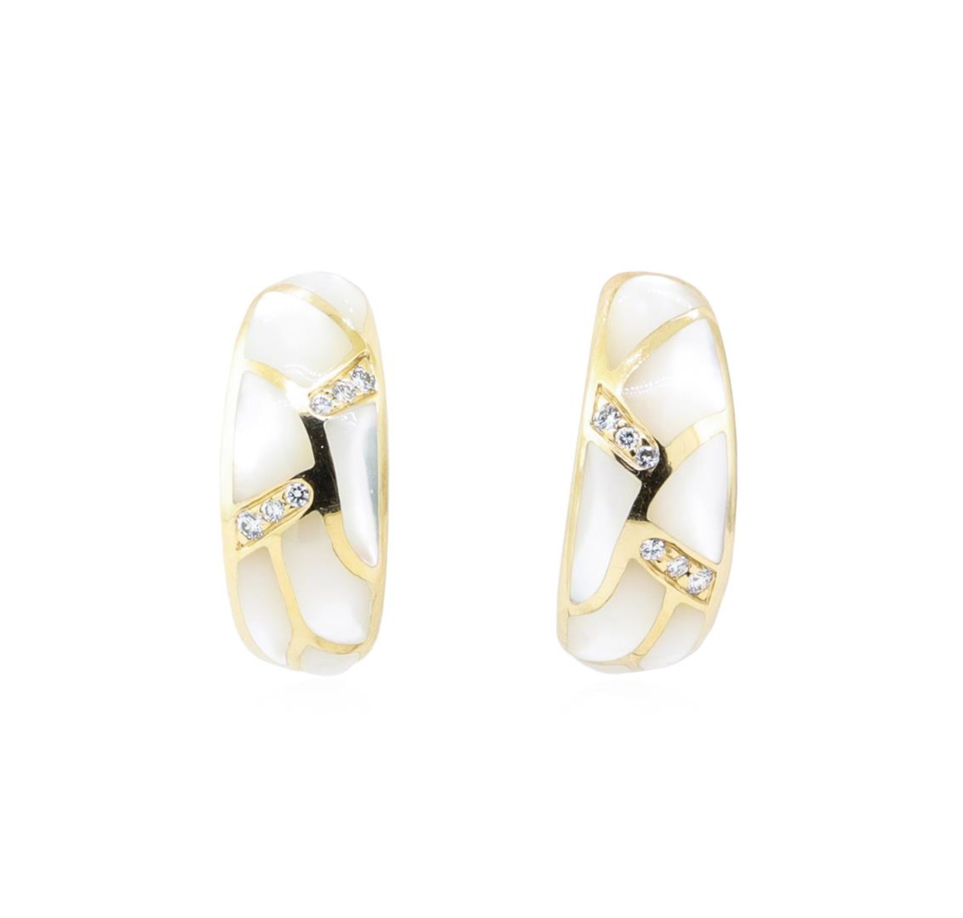 Kabana 0.25ctw Diamond and Inlaid Mother of Pearl Earrings - 14KT Yellow Gold
