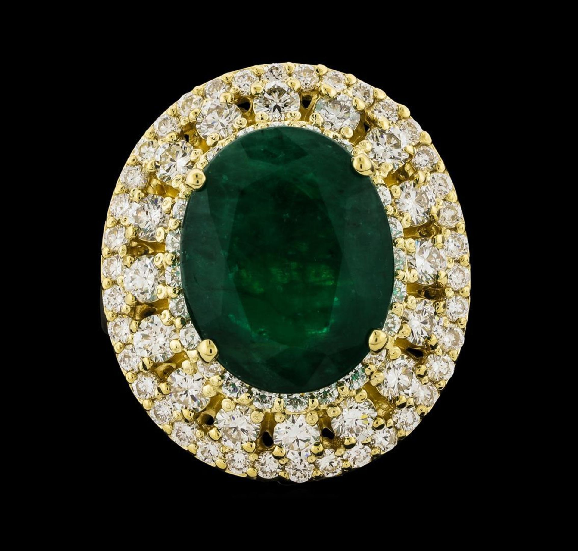 6.63 ctw Emerald and Diamond Ring - 14KT Yellow Gold - Image 2 of 5