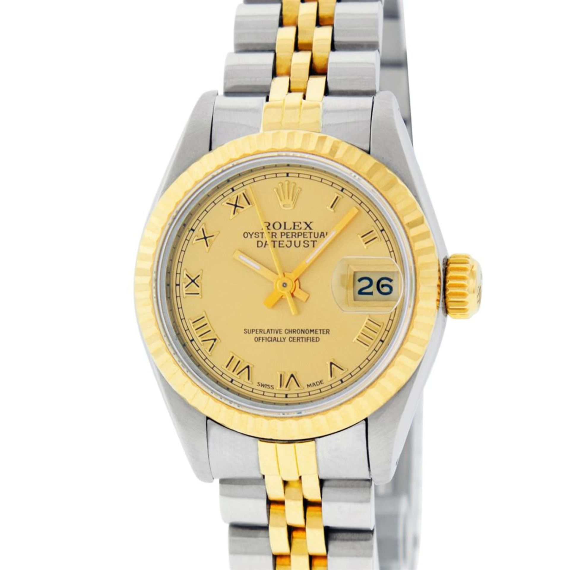 Rolex Ladies 2 Tone Factory Champagne Roman Fluted Datejust Wristwatch - Image 2 of 9