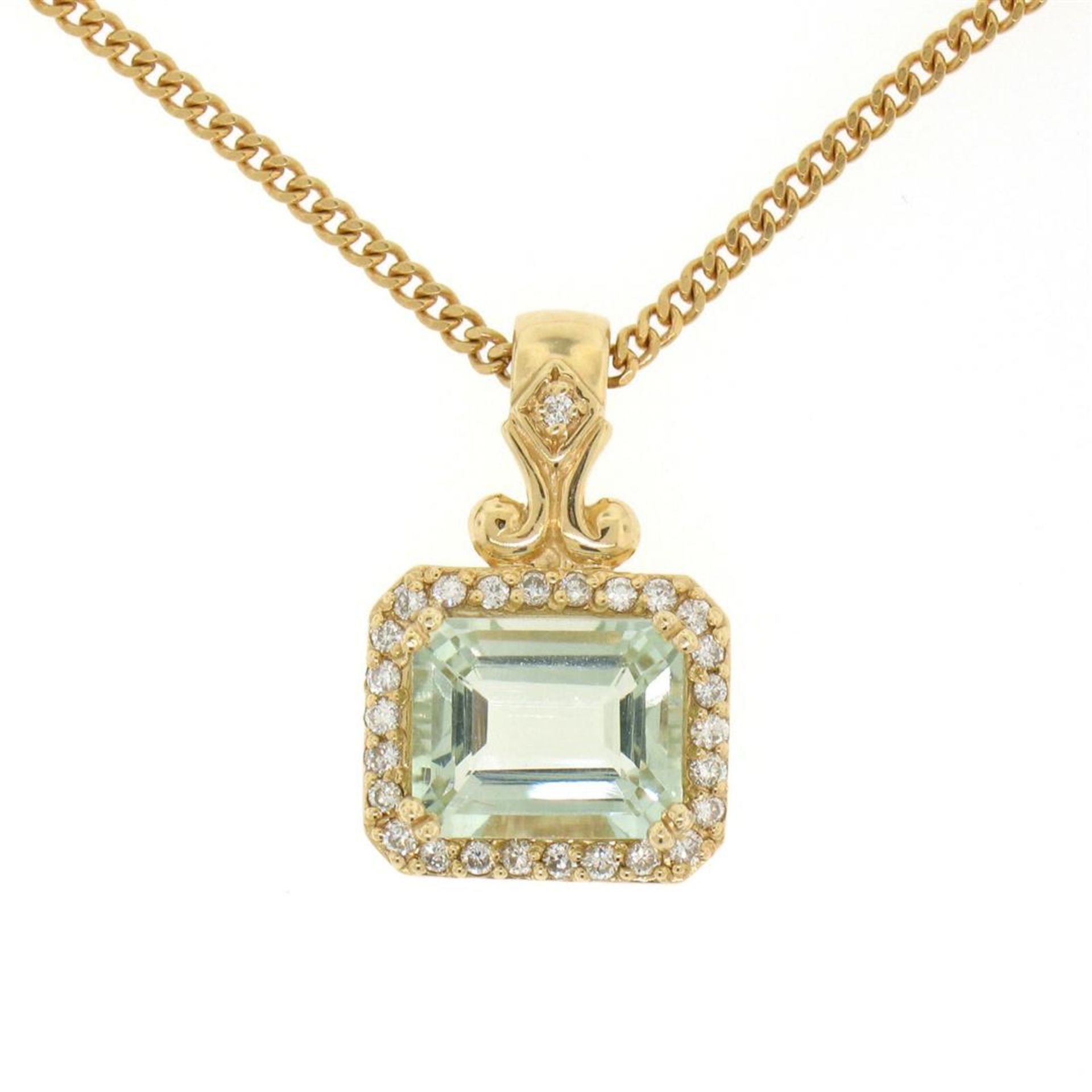 "14K Yellow Gold 3.77ctw VS Diamond Green Amethyst Pendant w/ 20"" Curb Chain"