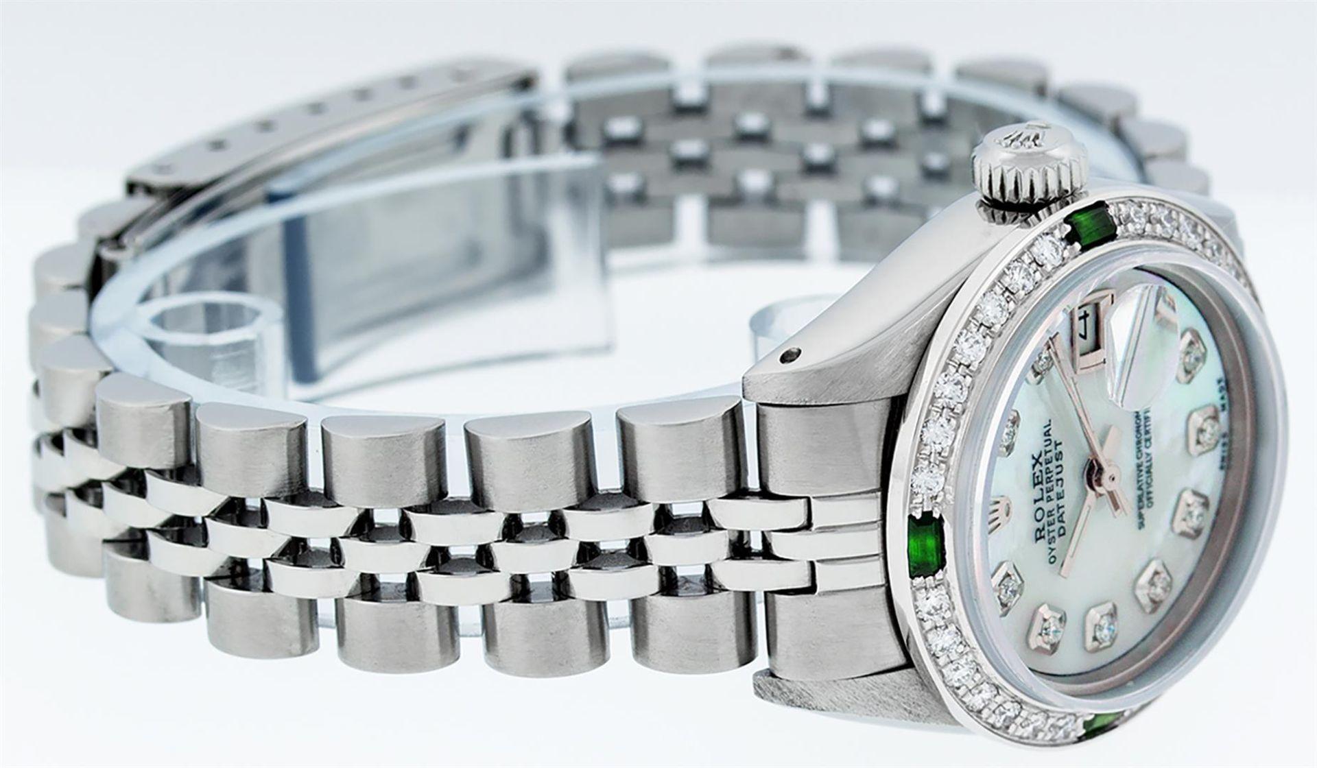 Rolex Ladies Stainless Steel Blue MOP Diamond & Emerald Datejust Wristwatch - Image 9 of 9