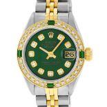 Rolex Ladies 2 Tone Green Diamond & Emerald Datejust Wristwatch