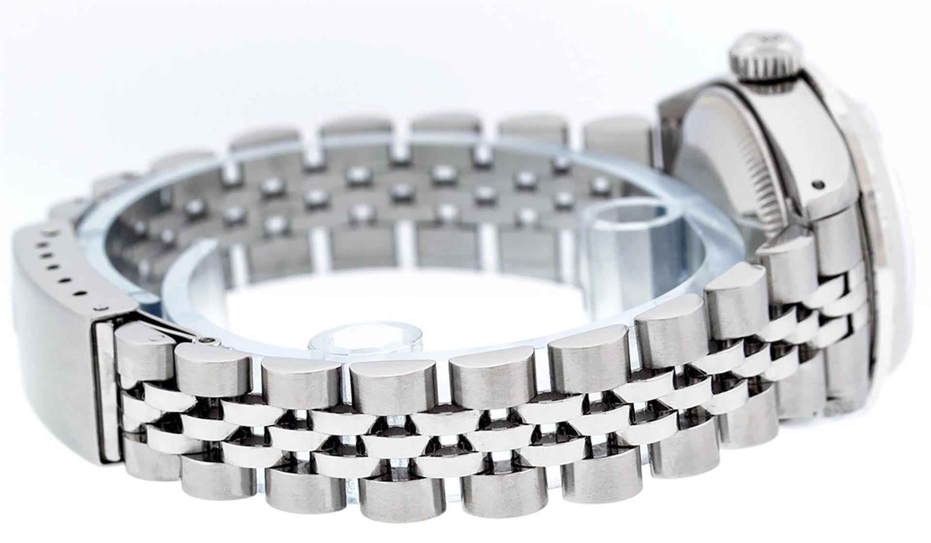 Rolex Ladies Stainless Steel Blue MOP Diamond & Emerald Datejust Wristwatch - Image 5 of 9