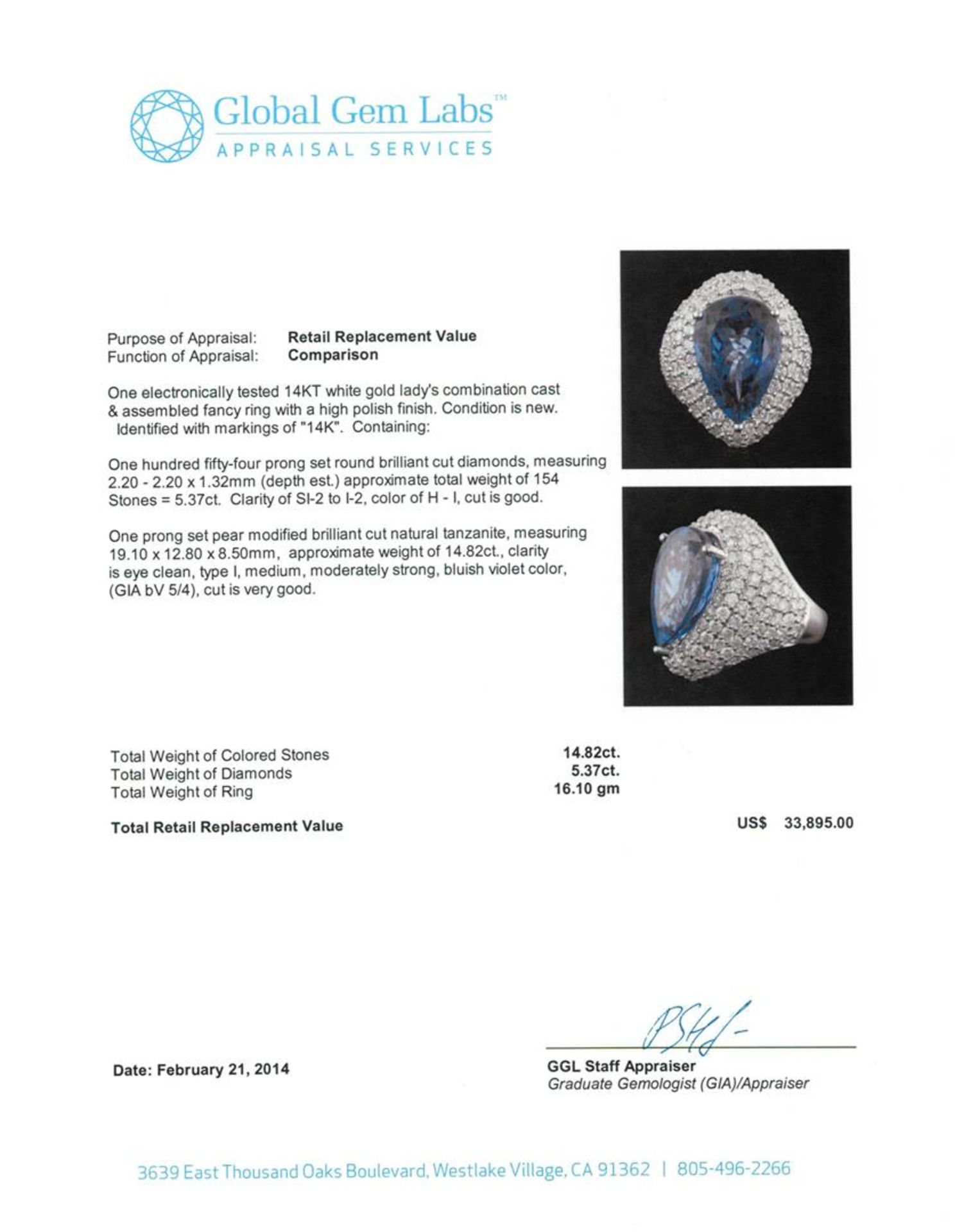 14KT White Gold 14.82 ctw GIA Certified Tanzanite and Diamond Ring - Image 3 of 4