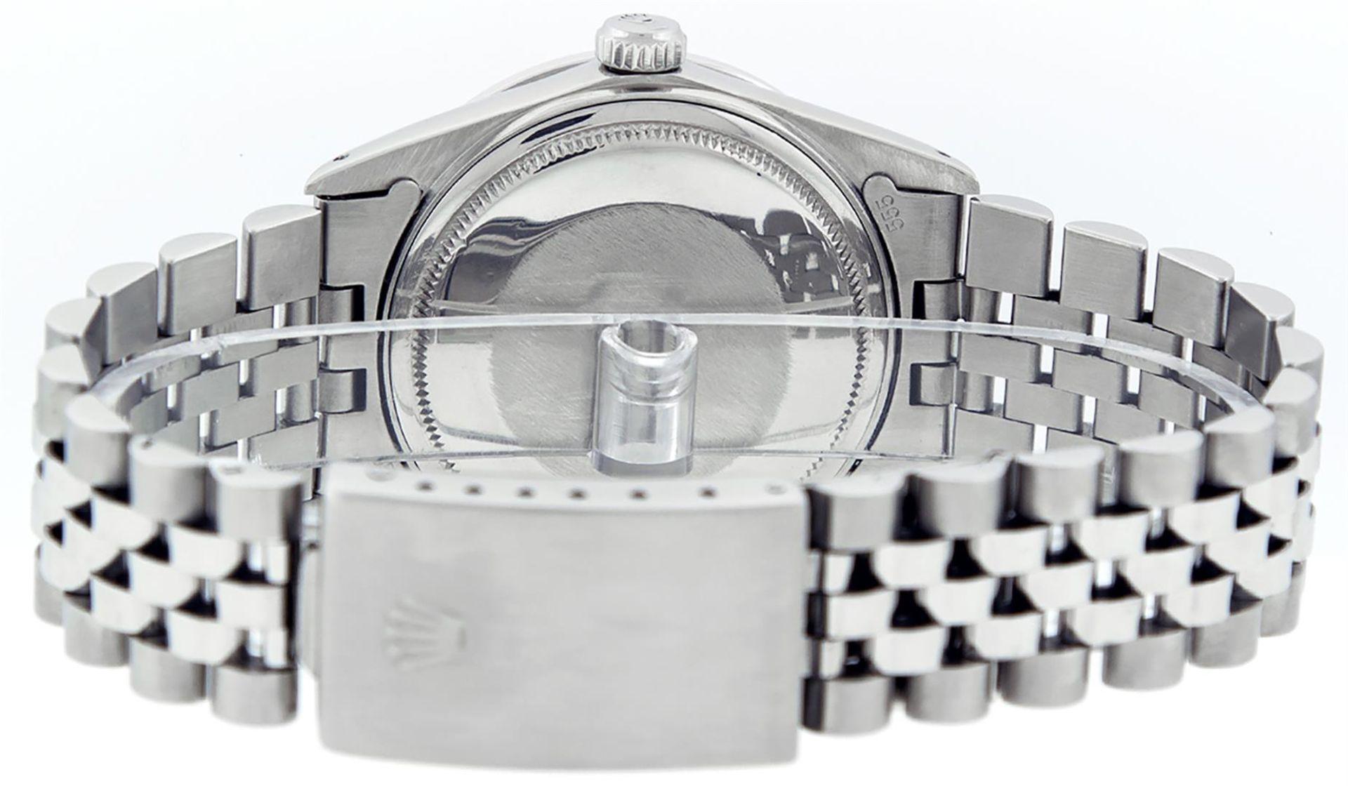 Rolex Mens Stainless Steel White Diamond & Emerald 36MM Datejust Wristwatch - Image 7 of 9