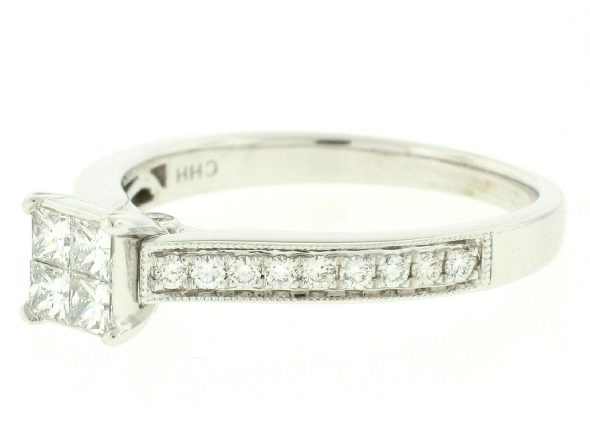 14k White Gold 0.79ctw Illusion Solitaire Princess Cut Diamond Engagement Ring - Image 2 of 8