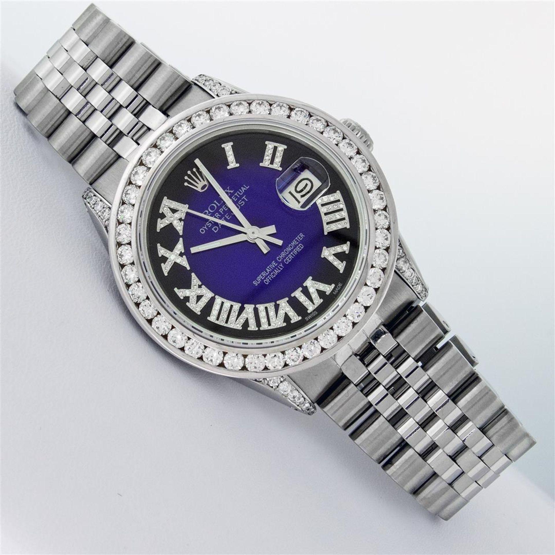 Rolex Mens Stainless Steel Blue Vignette Roman 3ctw Diamond Datejust Wristwatch - Image 3 of 9