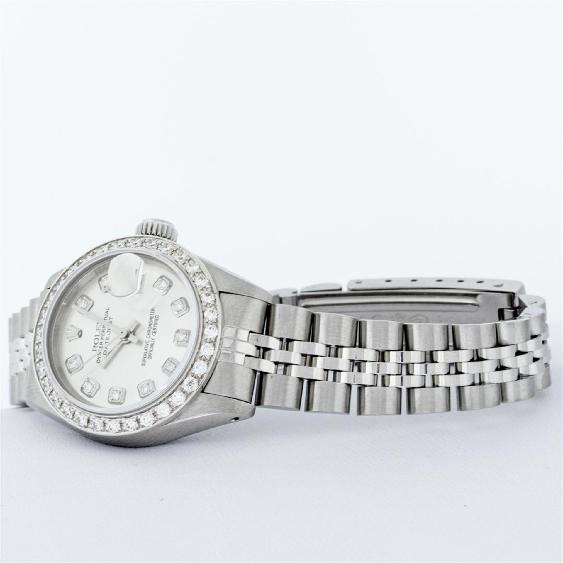 Rolex Ladies Stainless Steel Silver Diamond 26MM Oyster Perpetual Datejust - Image 5 of 9